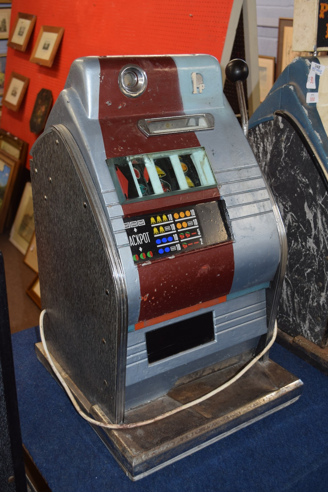 Vintage penny fair one armed bandit fruit machine, with light up display, 68cm high Condition: - Image 3 of 5