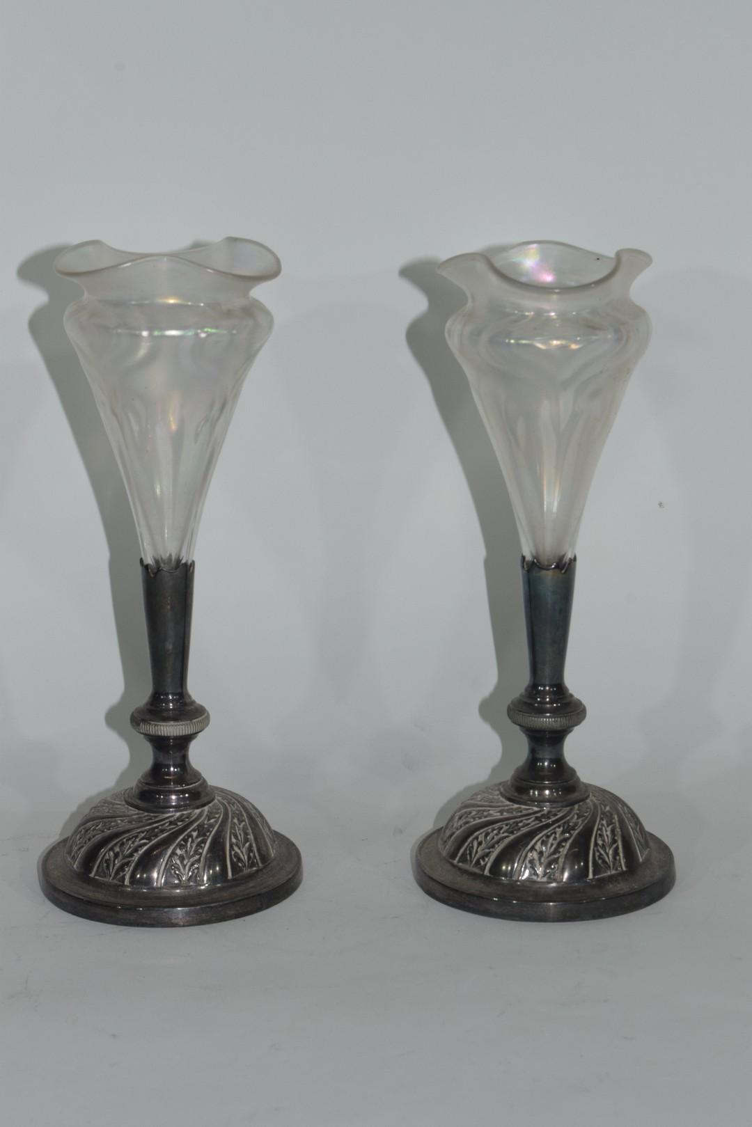 Pair of Art Nouveau bud vases - Image 3 of 5