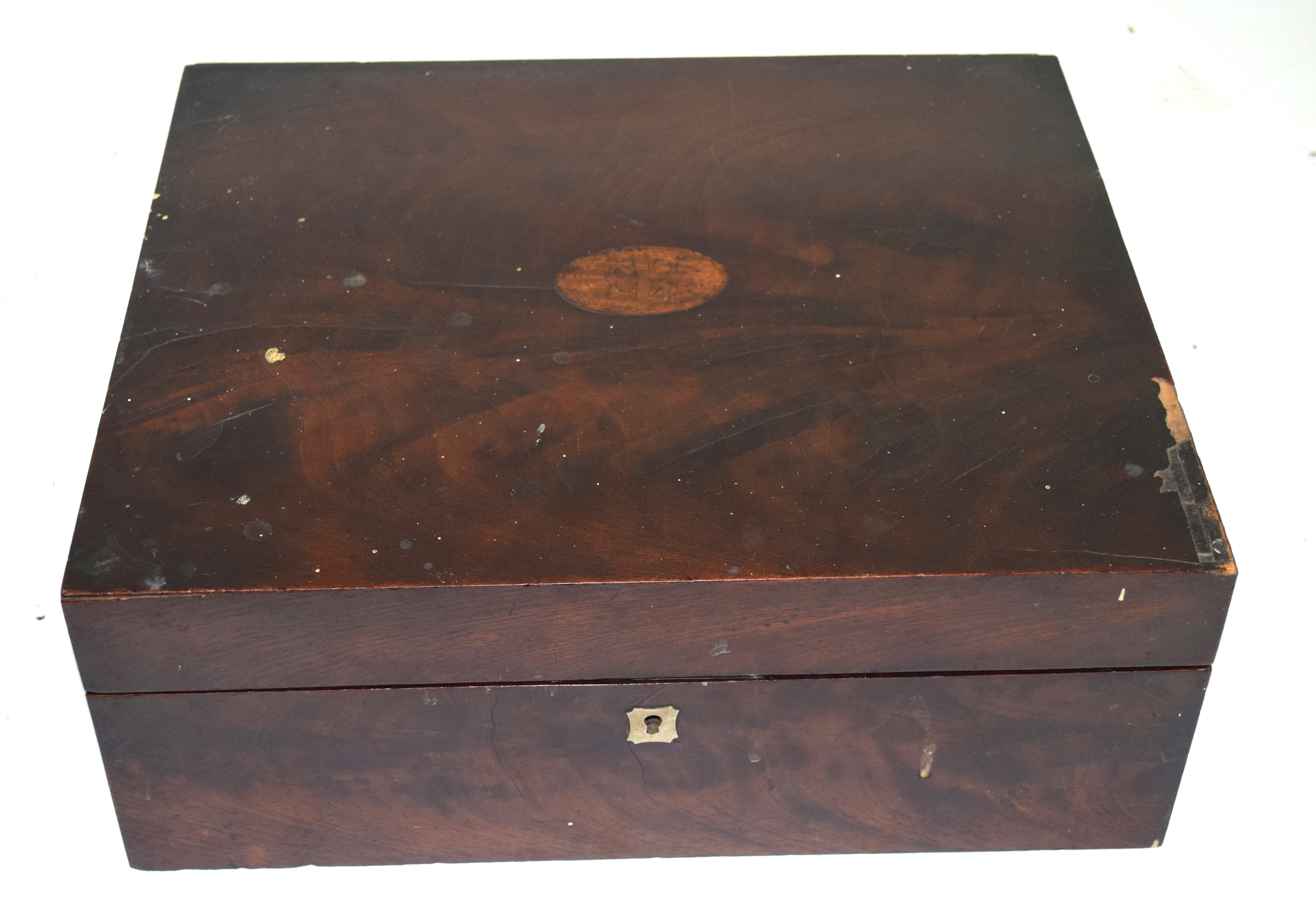 Large 19th century mahogany writing box with fitted interior, 38cm wide Condition: very worn - Image 2 of 3