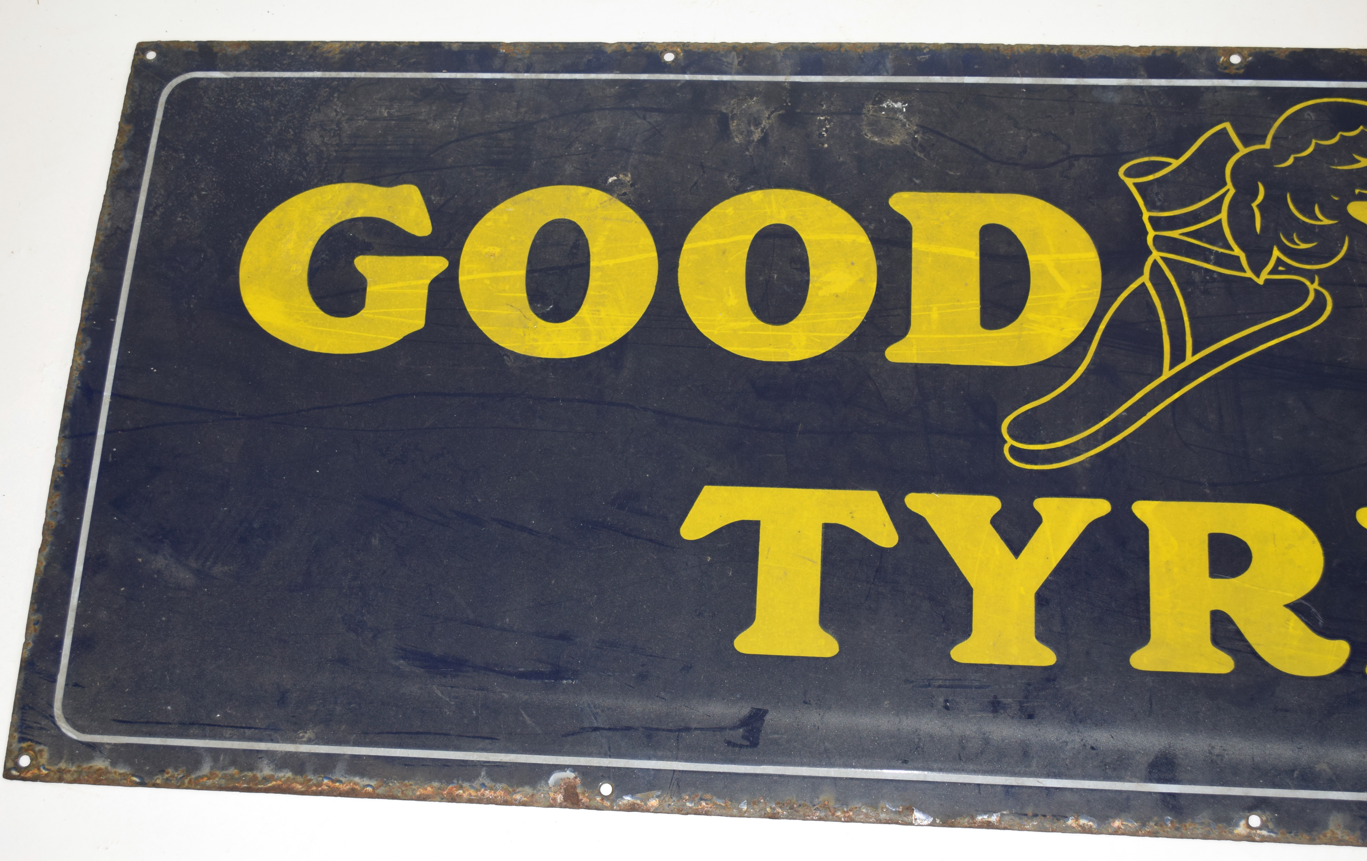 Vintage enamel advertising sign for Goodyear Tyres, yellow lettering on a blue background 153cm - Image 3 of 4