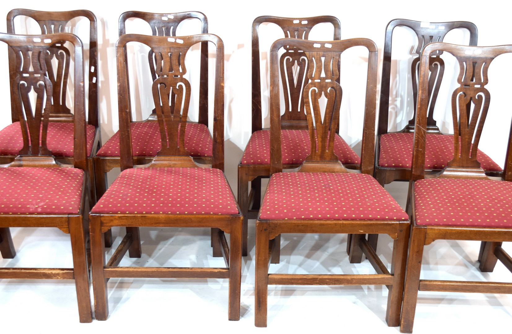A set of eight 19th century mahogany dining chairs with pierced splat backs and red upholstered push - Image 2 of 2