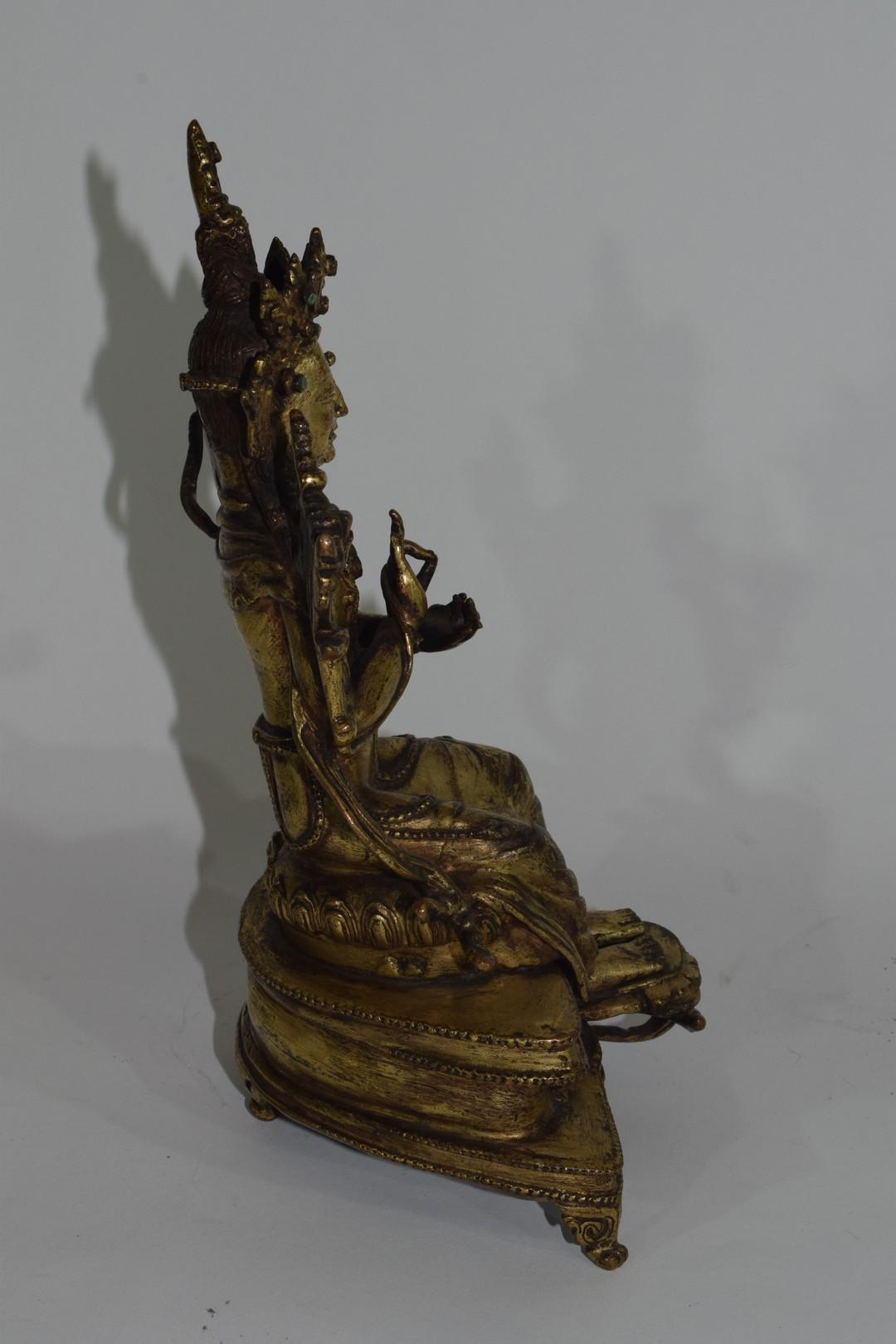Rare Sino-Tibetan gilt bronze figure of Maitreya - Image 4 of 8