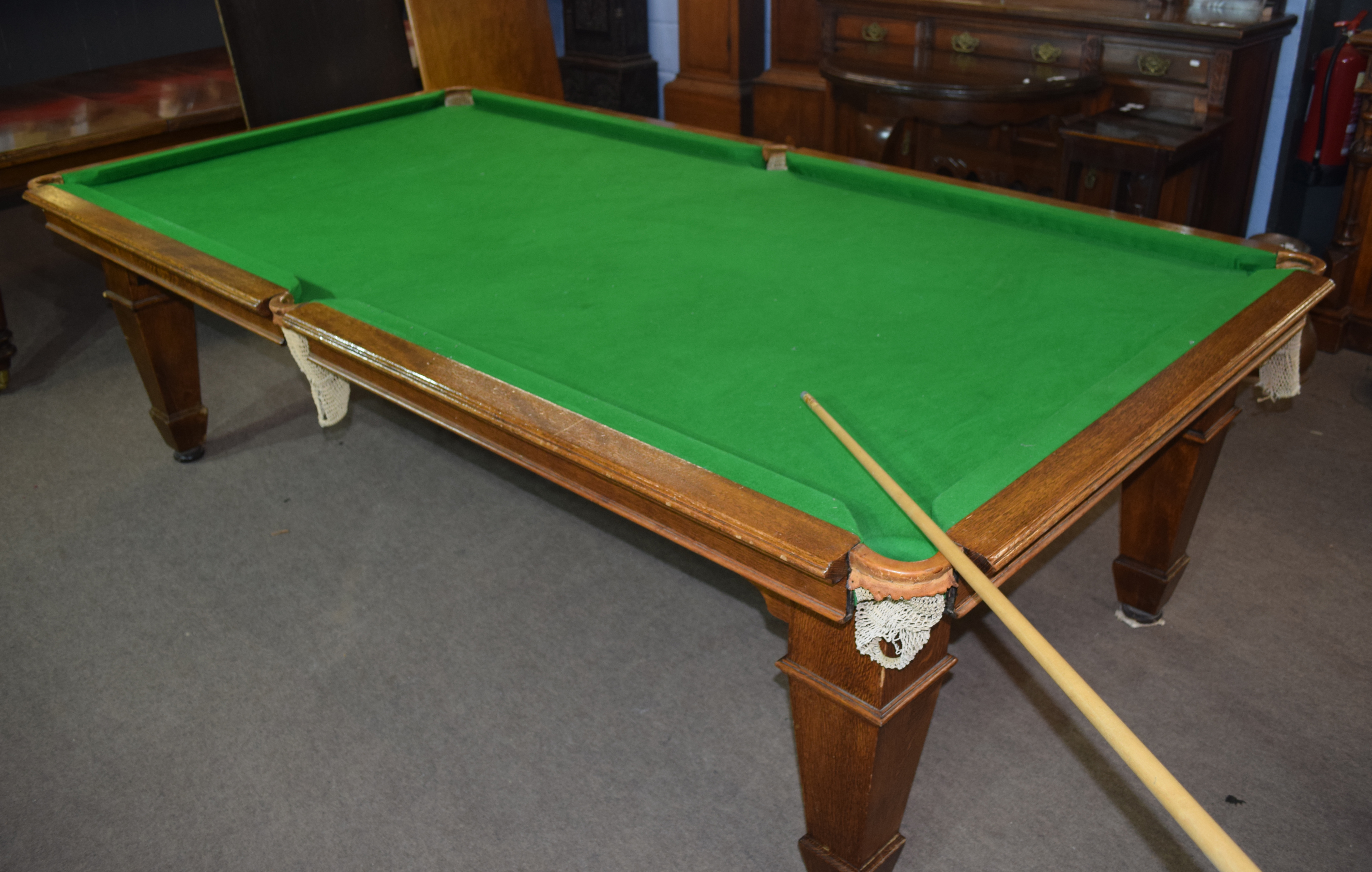 Oak frame and slate bed, quarter size snooker table with leaves adapting it to a dining table - Image 2 of 6