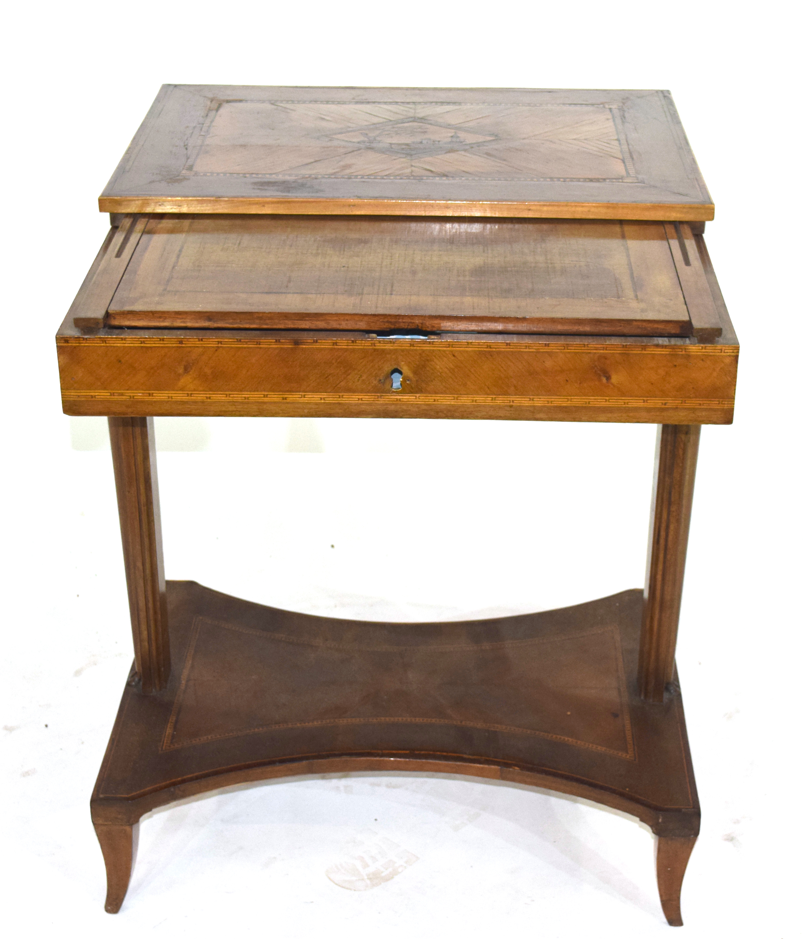 19th century Continental metamorphic desk or work table, the inlaid sliding top opening to reveal - Image 2 of 4