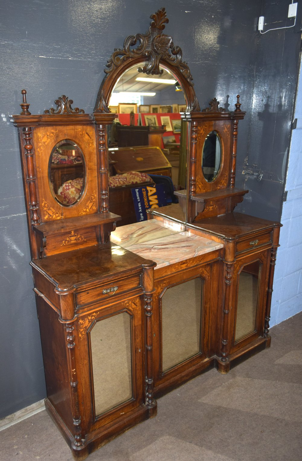 Victorian walnut and burr walnut veneered side cabinet, the shaped back with large central mirror - Image 2 of 2