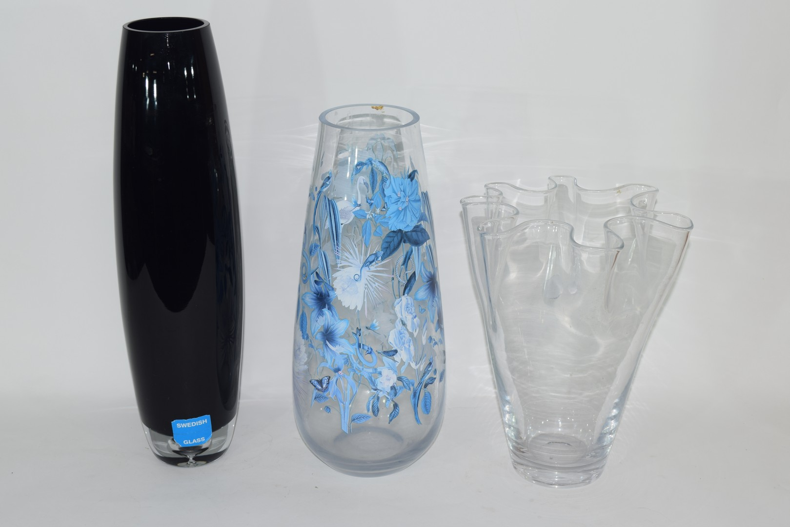 Three Swedish Art glass vases with various labels - Image 3 of 3