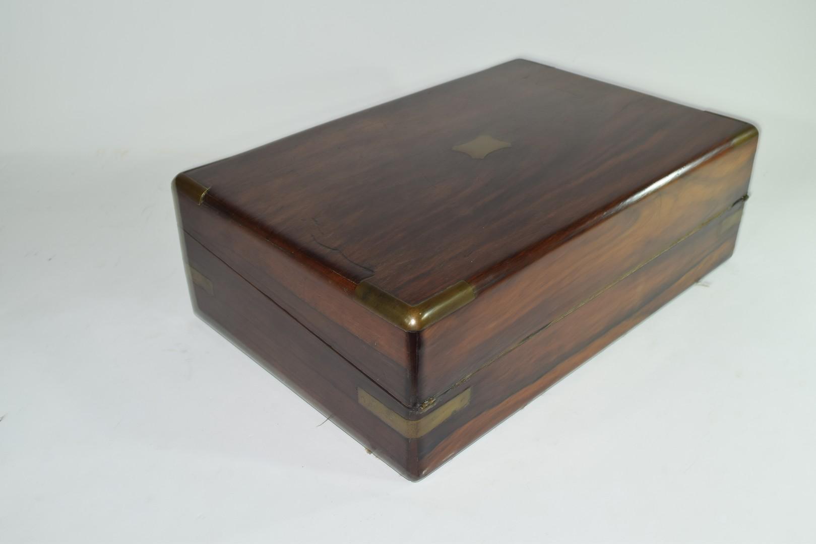 Late 19th century hardwood writing box - Image 3 of 6
