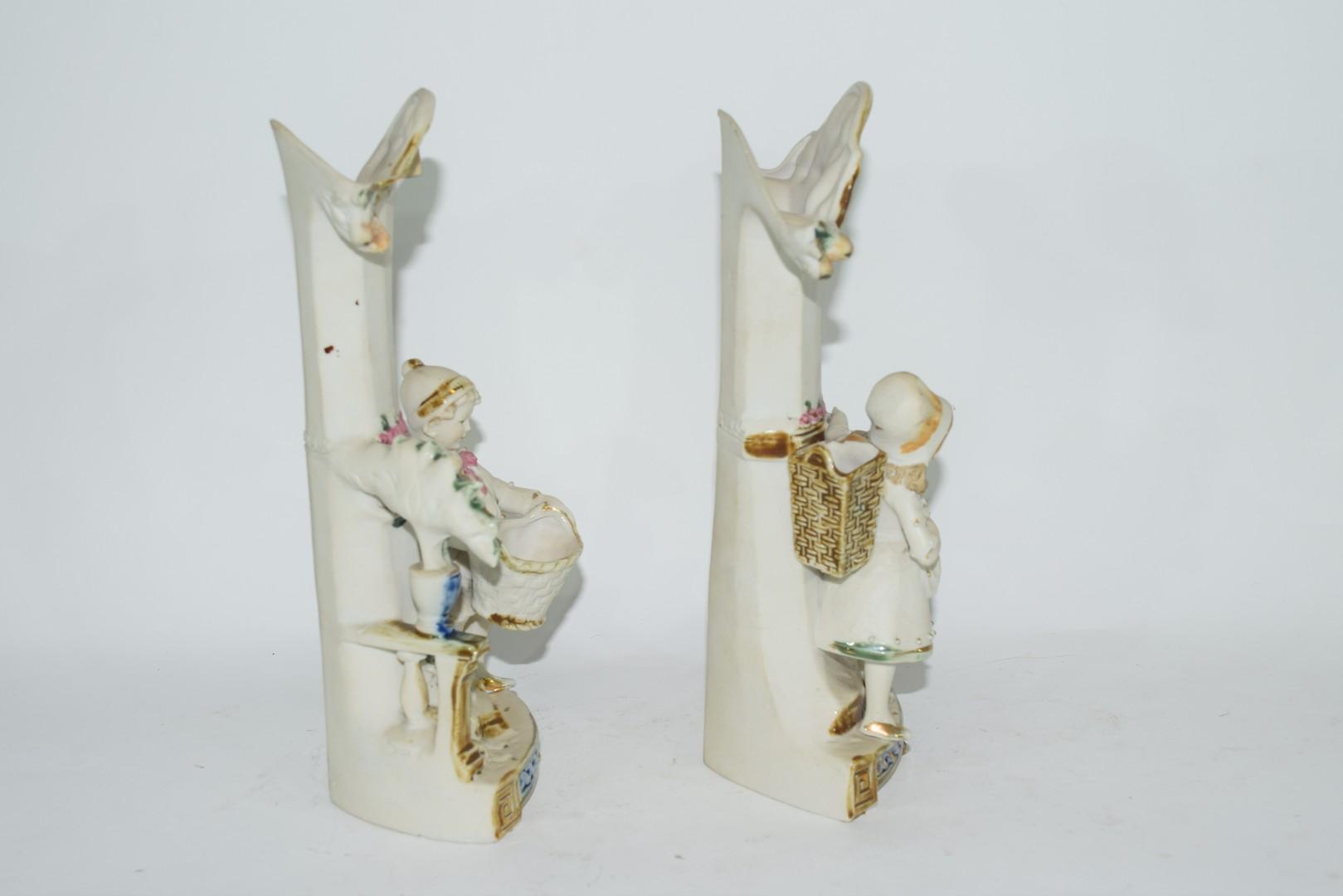Pair of bisque porcelain spill holder vases - Image 4 of 4