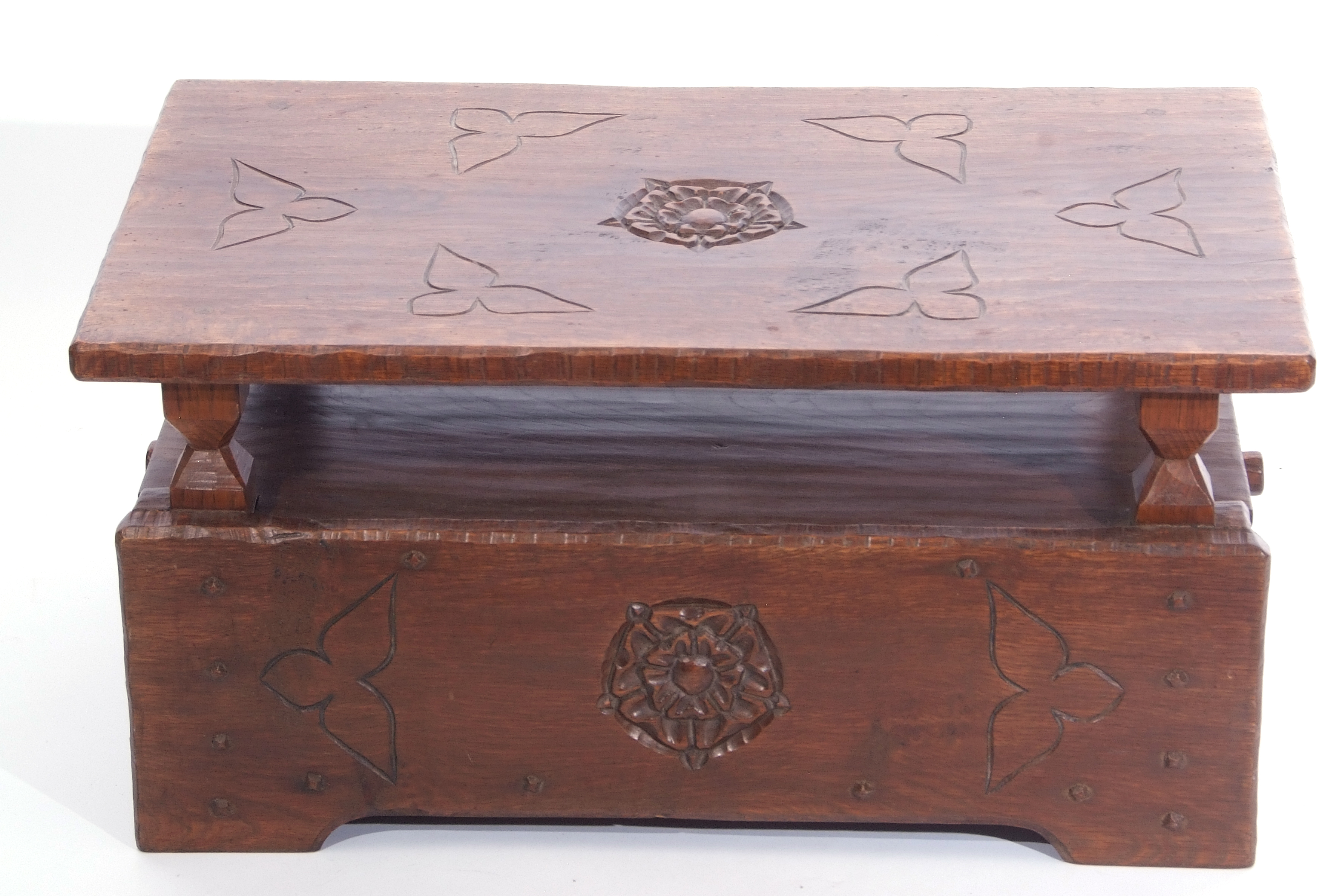 Jack Grimble of Cromer Oak coffee table with drop down storage end, carved with Tudor Rose detail - Image 2 of 9