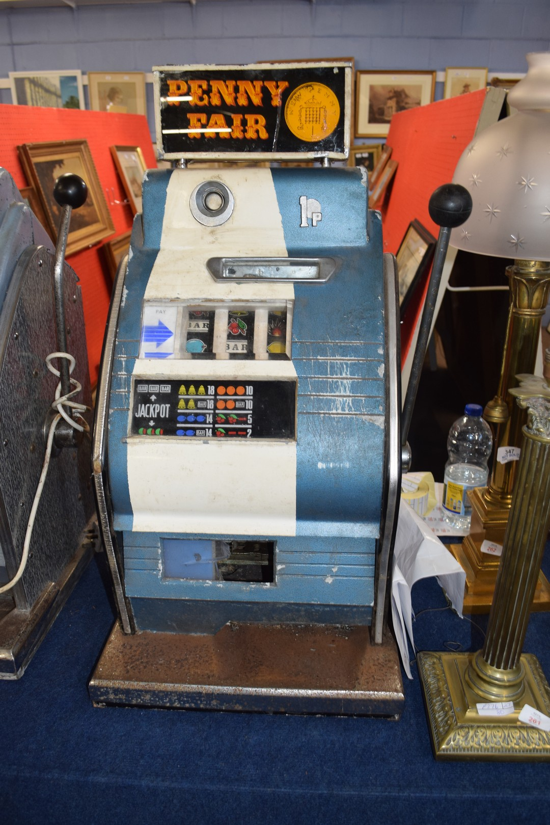 Vintage penny fair one armed bandit fruit machine, 79cm high Condition: - Image 4 of 7