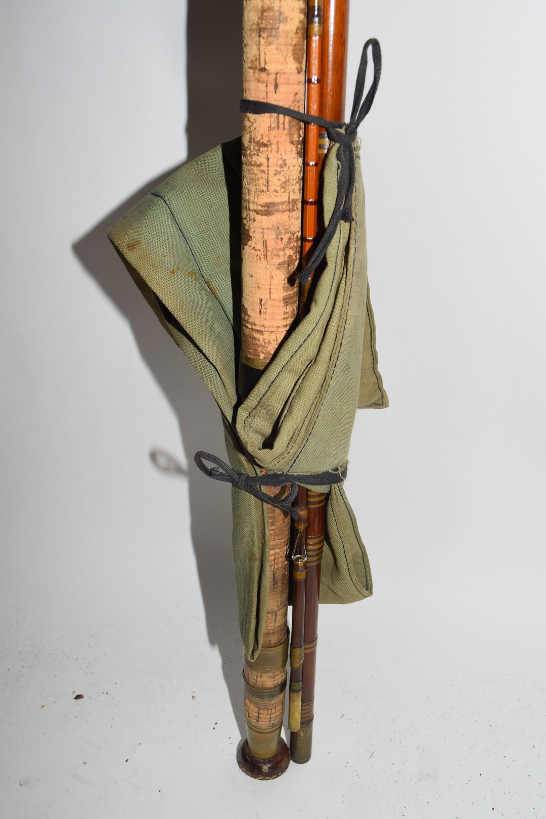 Vintage three-piece fibre glass and cane fishing rod - Image 2 of 4
