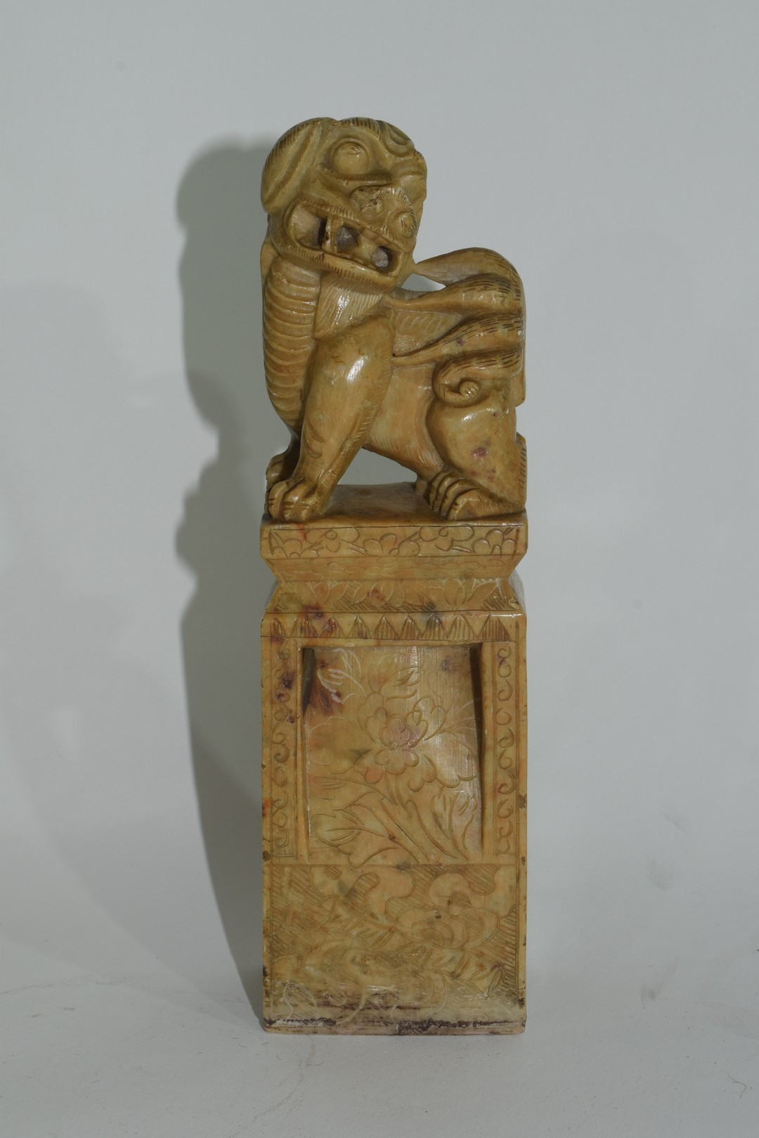 Oriental soapstone figure with a dog of Fo