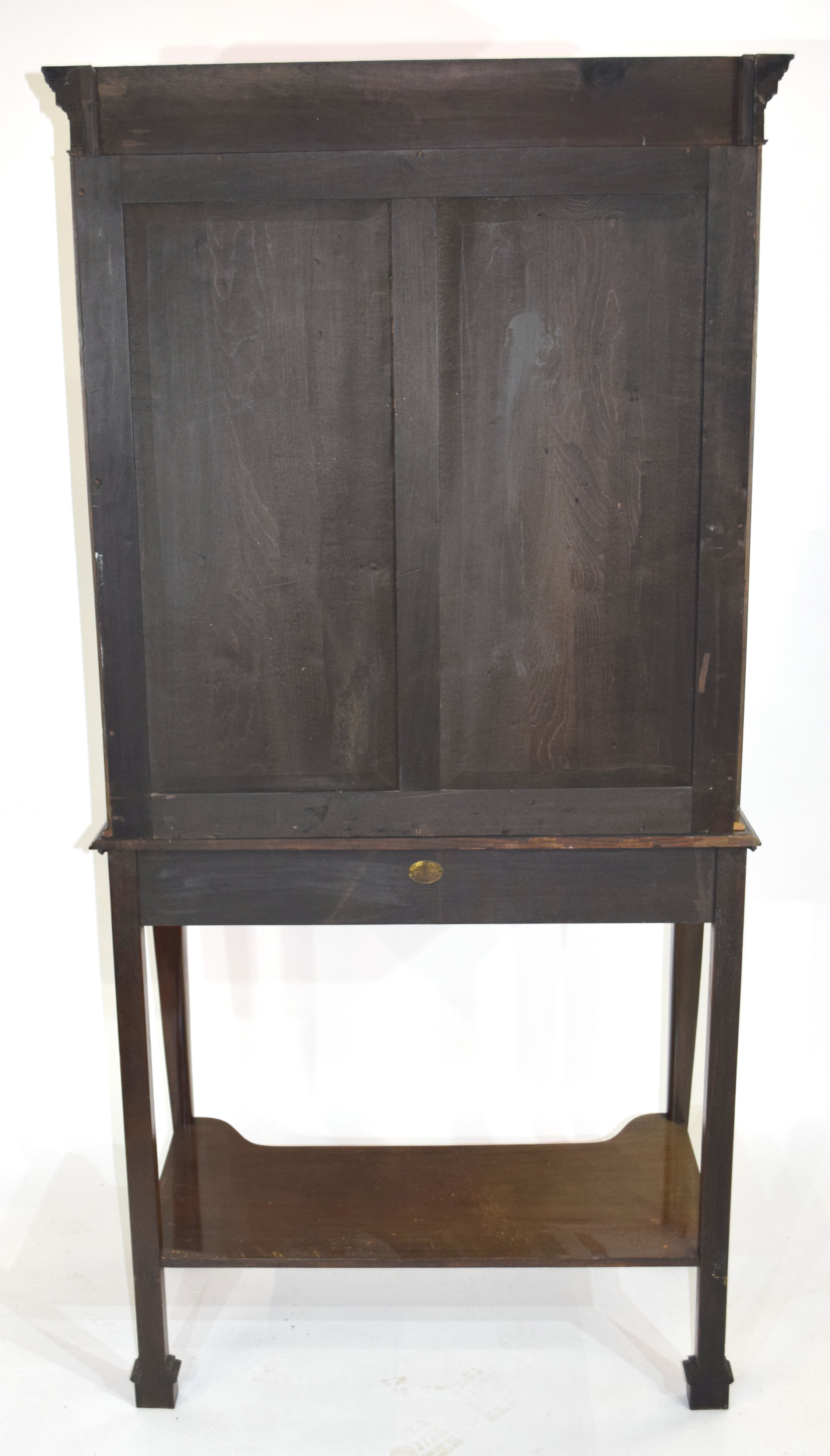 Edwardian mahogany side cabinet with shaped cornice over a top section with two glazed doors and - Image 6 of 7