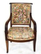 19th century mahogany framed armchair with tapering legs raised on casters, 92cm high Condition: