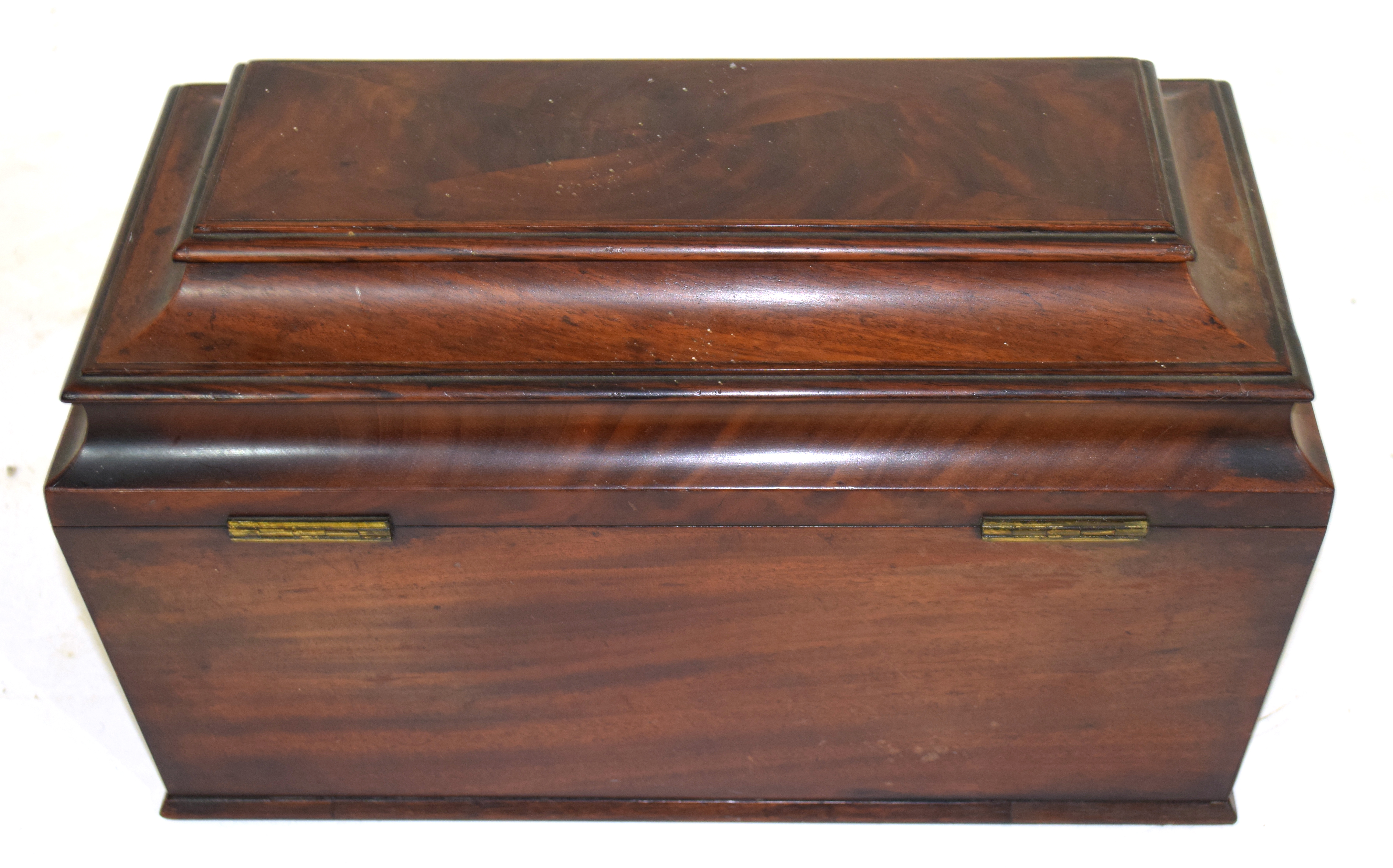 Georgian mahogany sarcophagus formed tea caddy, the hinged lid opening to an interior with two - Image 3 of 3