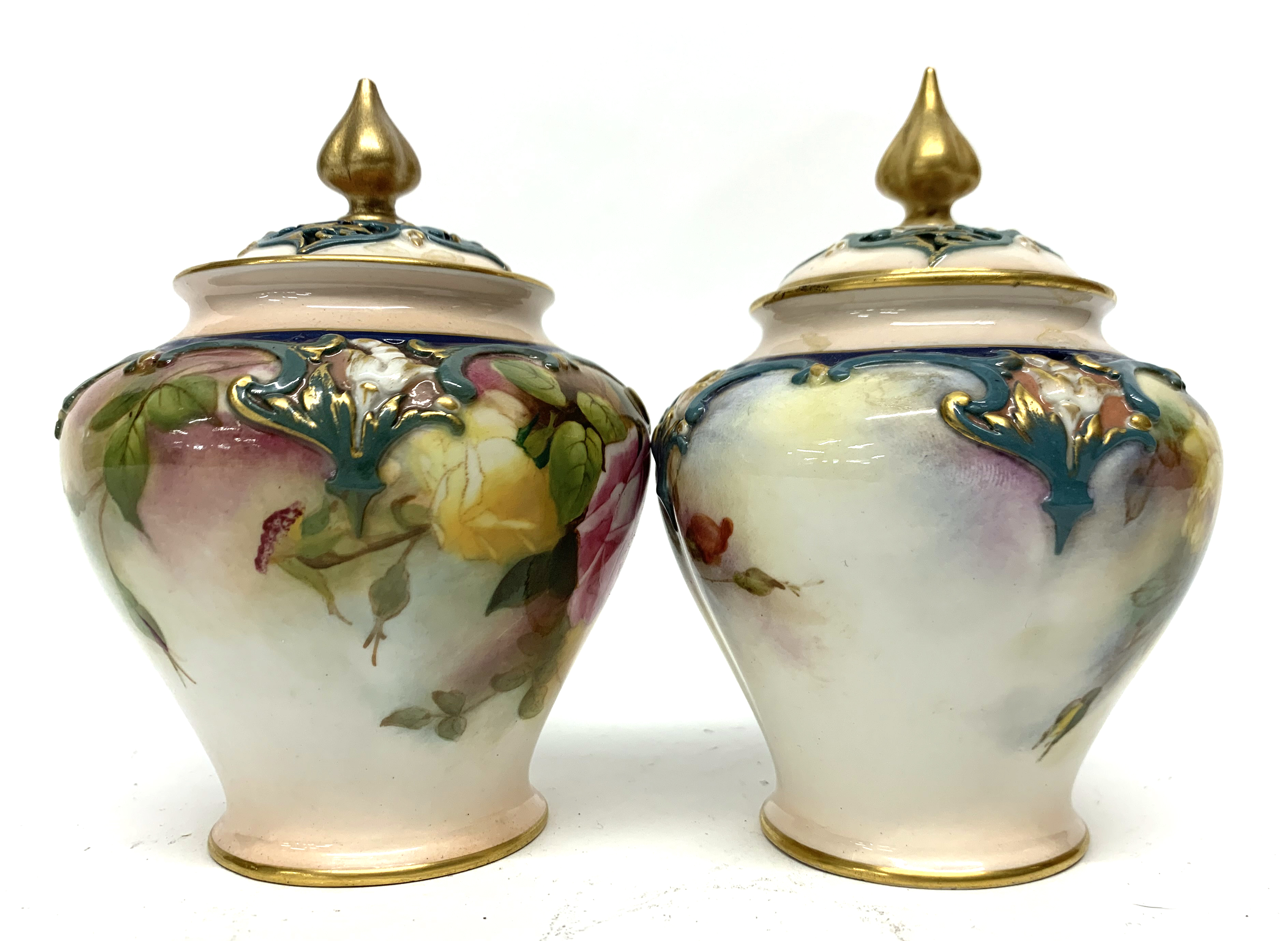 Pair of late 19th century Hadleigh Worcester vases a - Image 4 of 8