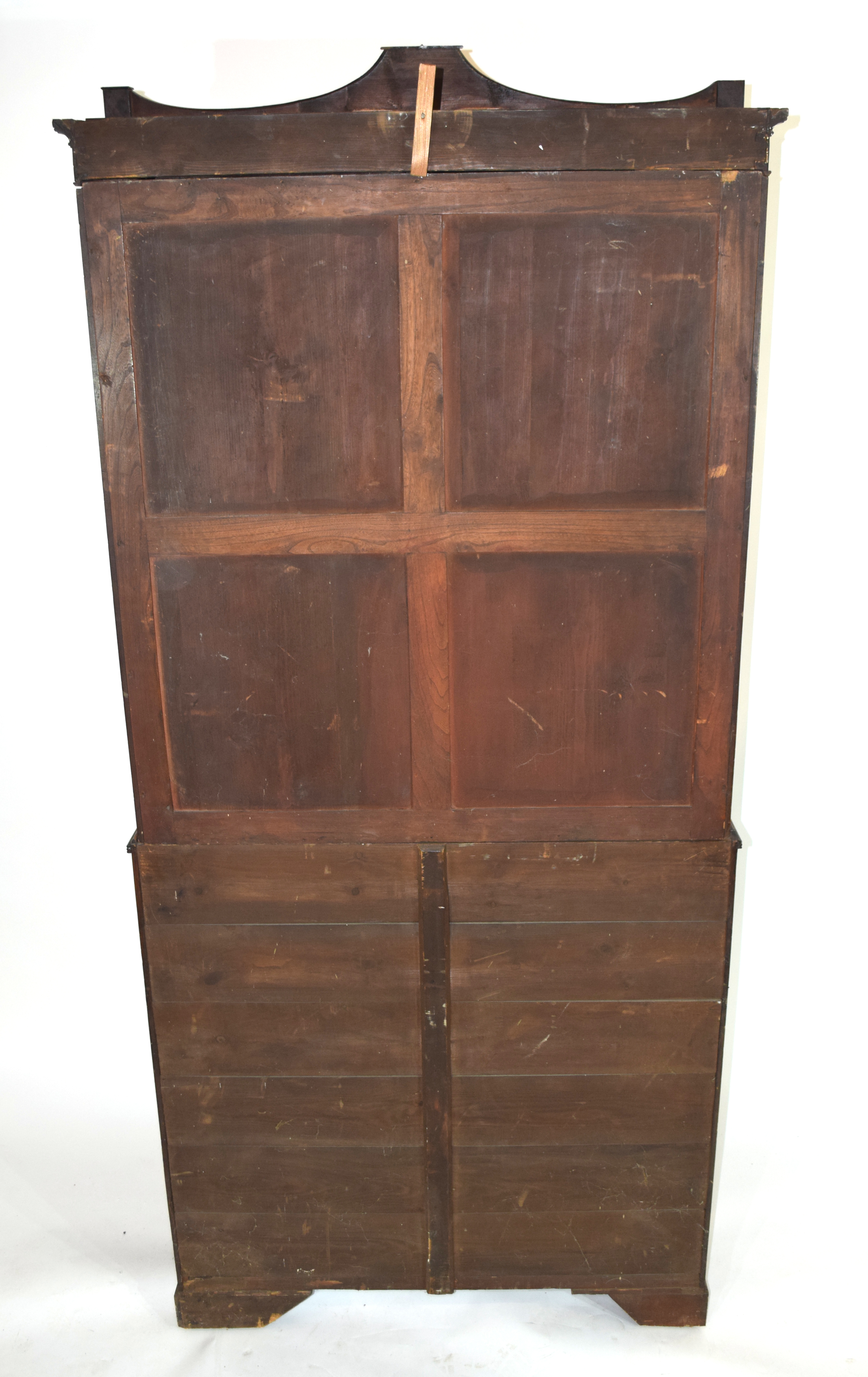 Georgian mahogany secretaire cabinet, top section with a shaped cornice over astragal glazed doors - Image 6 of 6