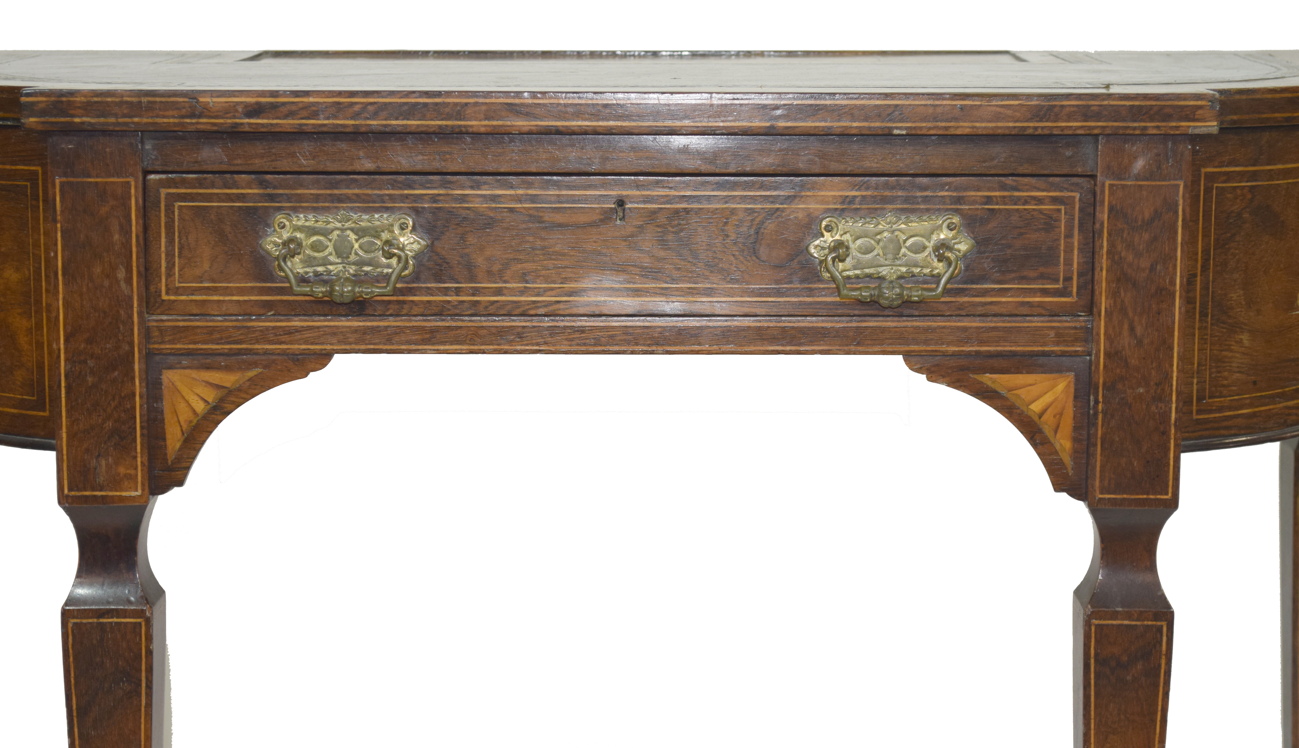 Late 19th century walnut veneered writing desk - Image 4 of 8