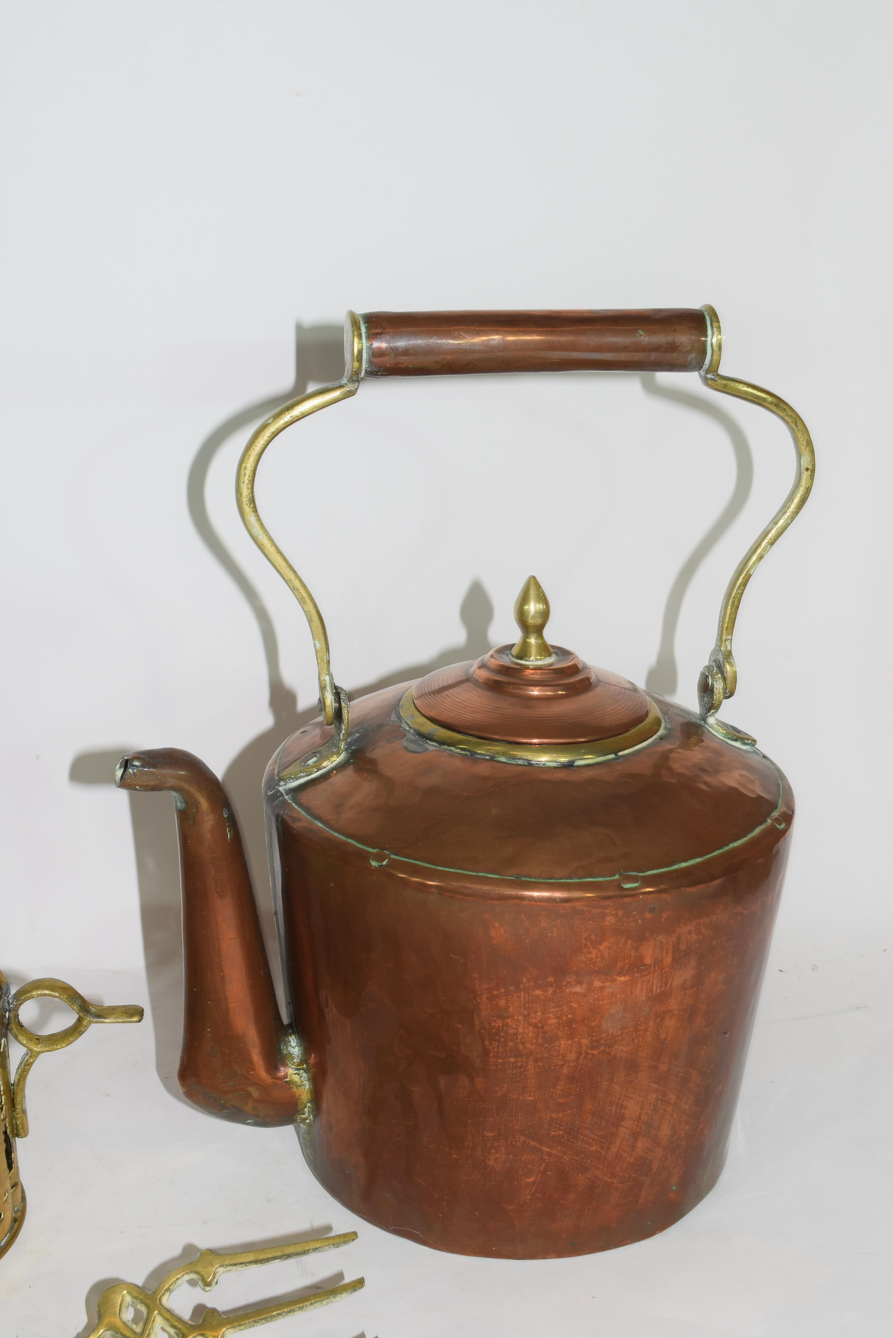 Mixed Lot of copper and brass wares comprising a Victorian warming pan, a kettle, two pairs of - Image 7 of 12