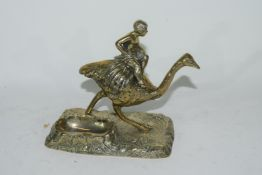 Brass ashtray modelled as an ostrich
