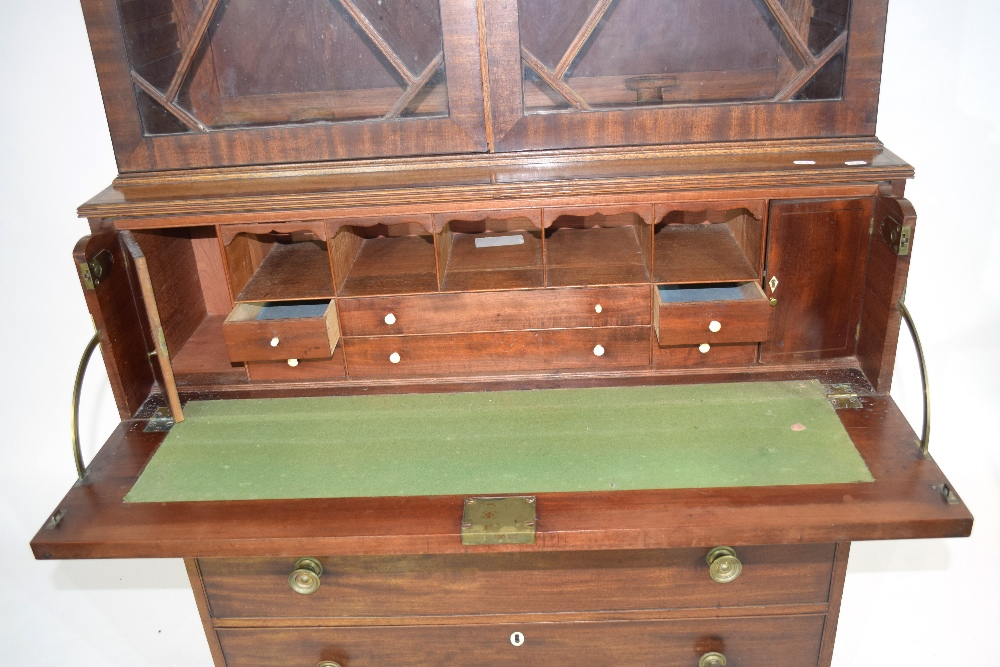 Georgian mahogany secretaire cabinet, top section with a shaped cornice over astragal glazed doors - Image 3 of 6