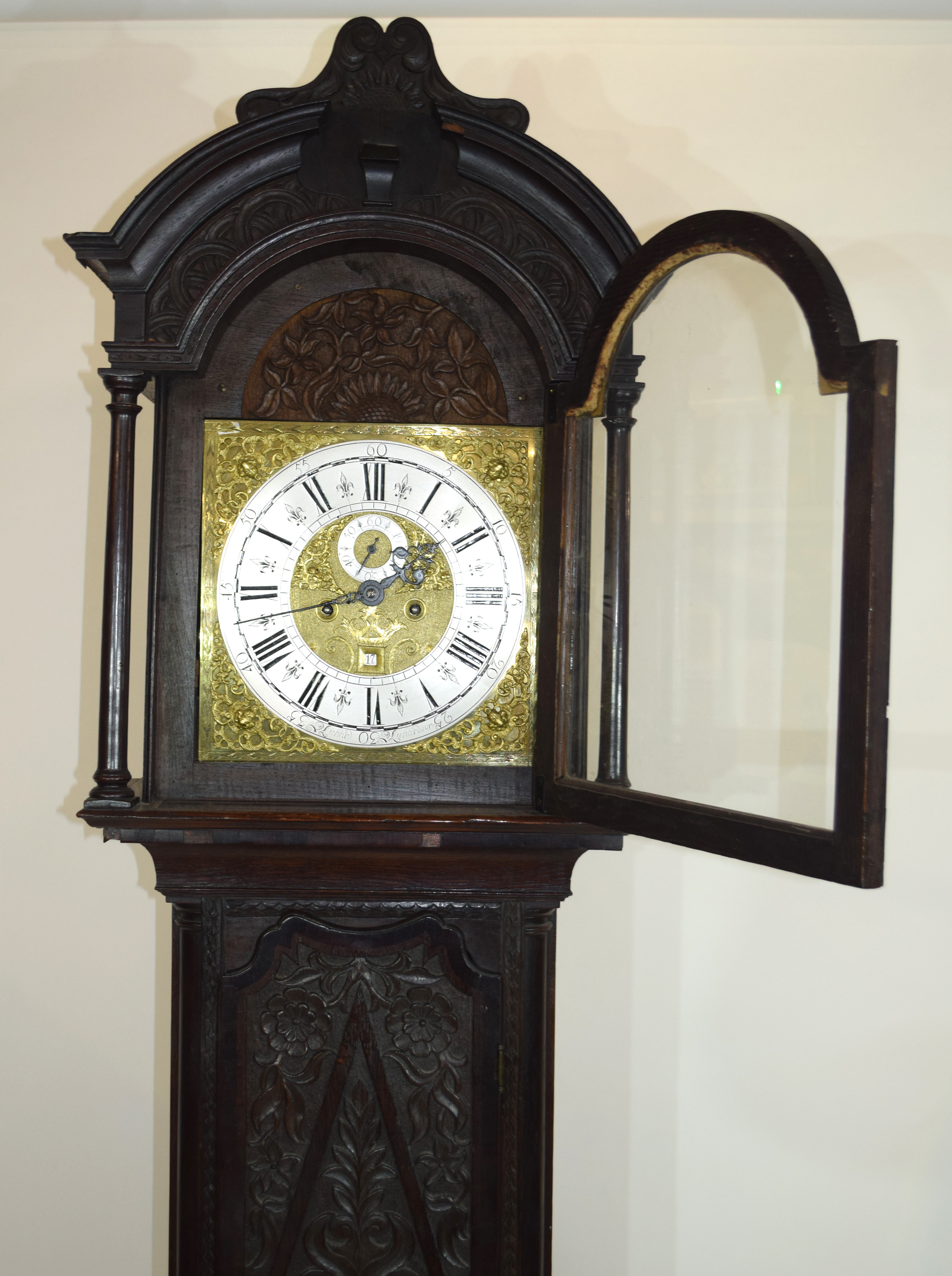 Ornately carved longcase clock, with gilt dial mounted with Roman chapter ring, subsidiary minutes - Image 5 of 7