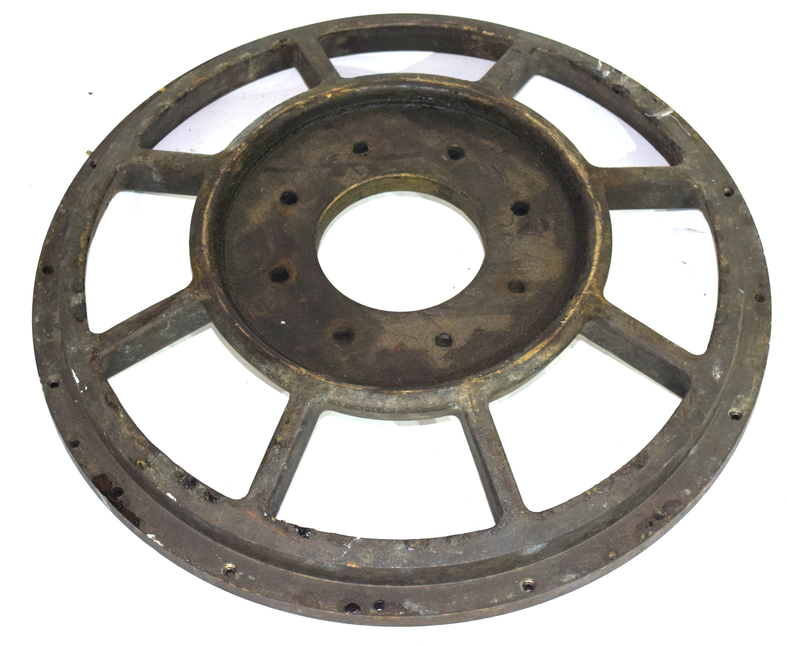 Bronze wheel, diam approx 40cm Condition: Appears to be structurally sound
