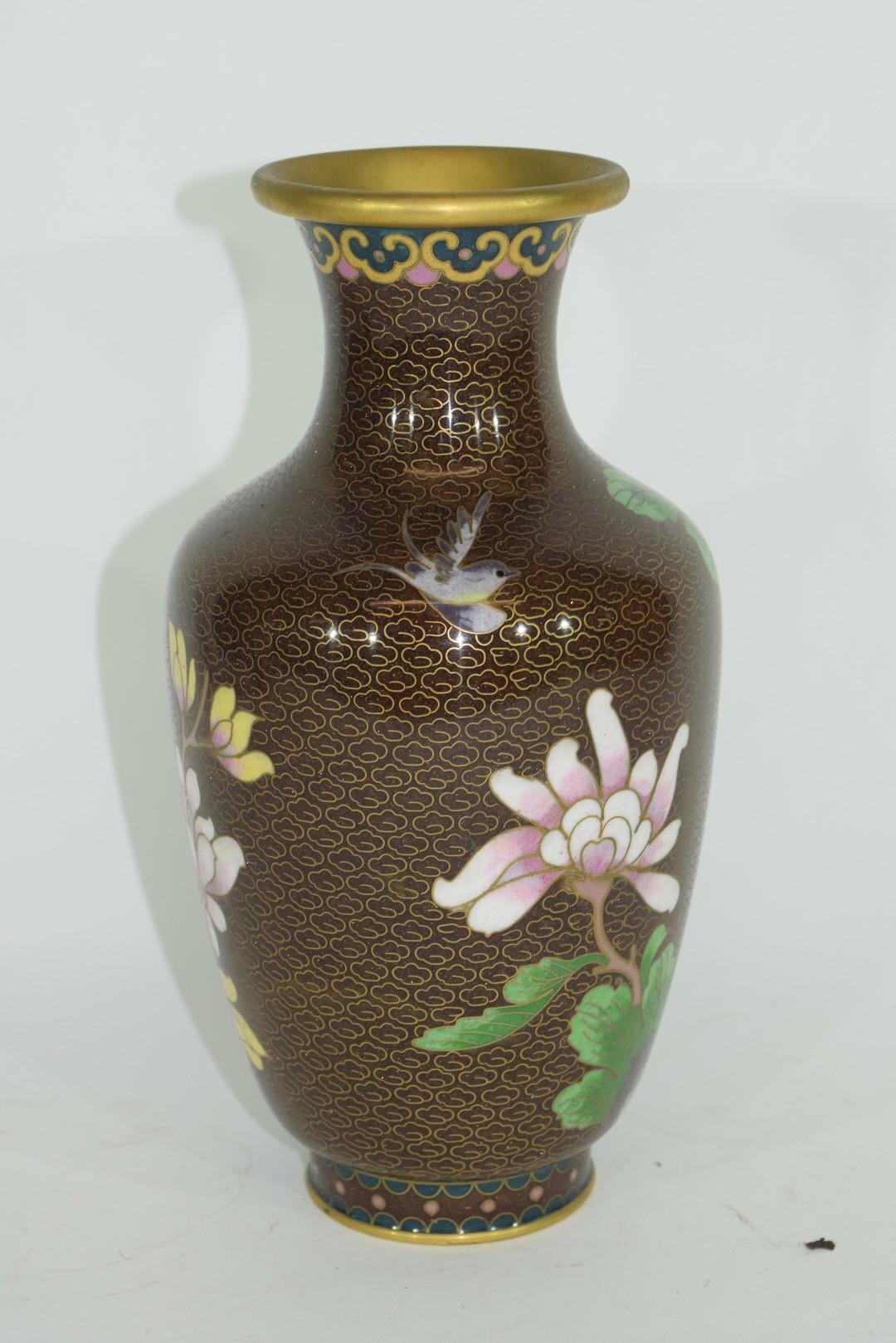 Cloisonne vase - Image 3 of 6