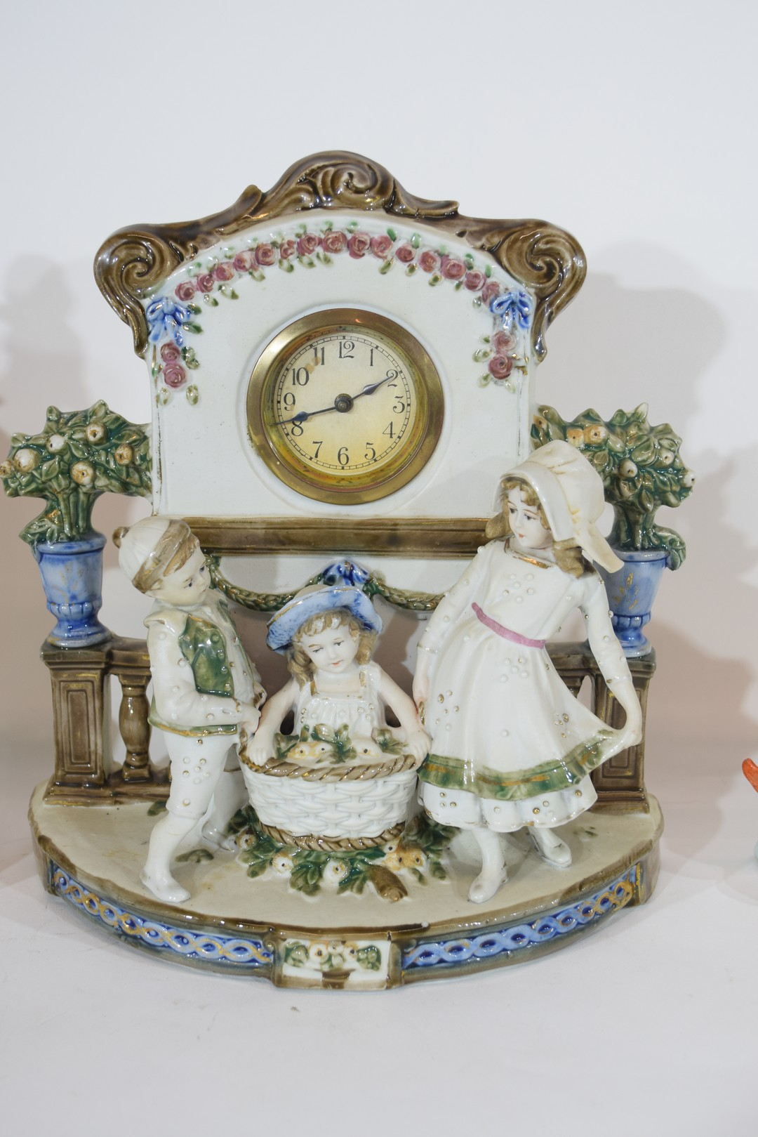 Three examples of Continental porcelain clock mantel cases - Image 4 of 9