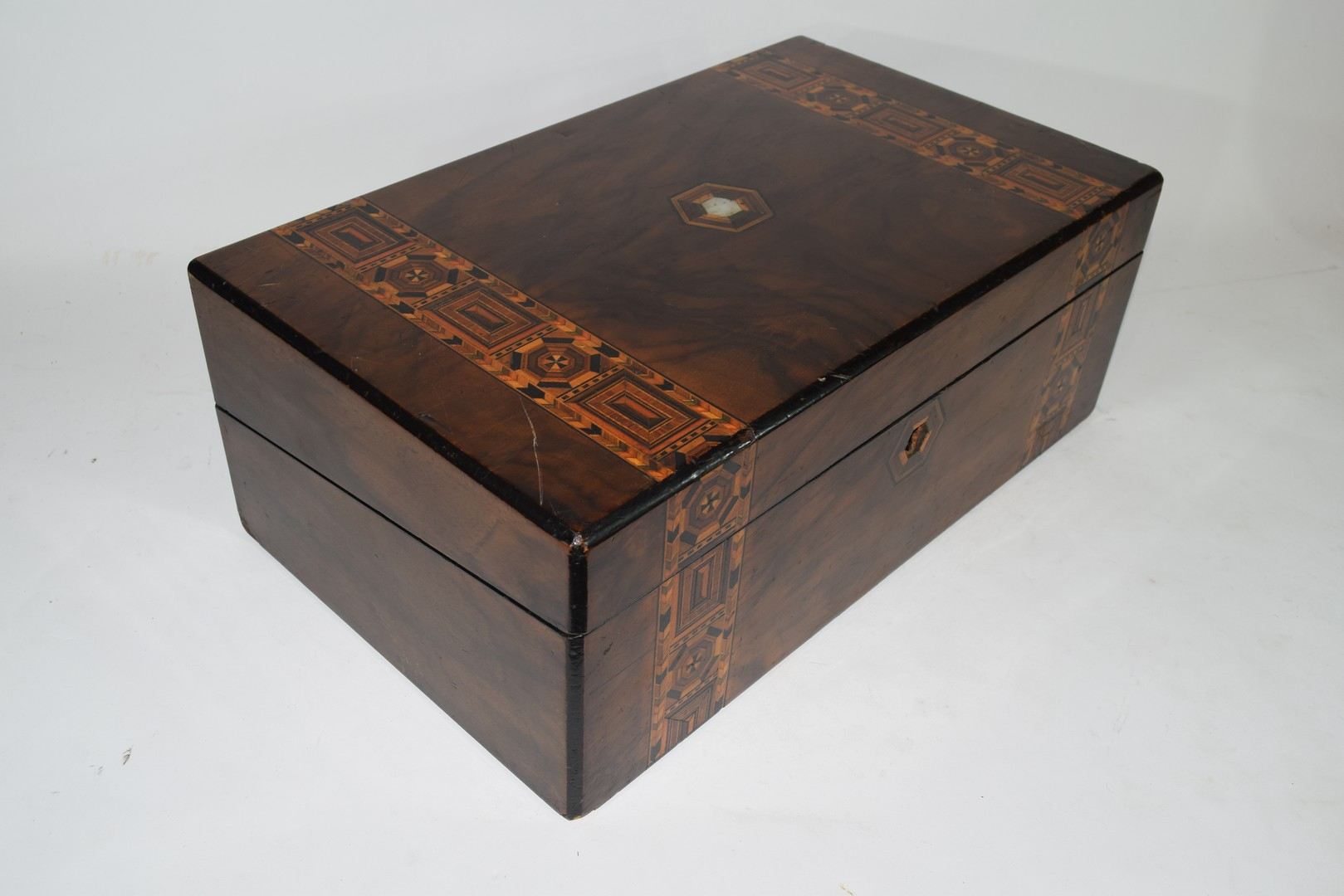 Late 19th century walnut and marquetry inlaid writing box - Image 2 of 6