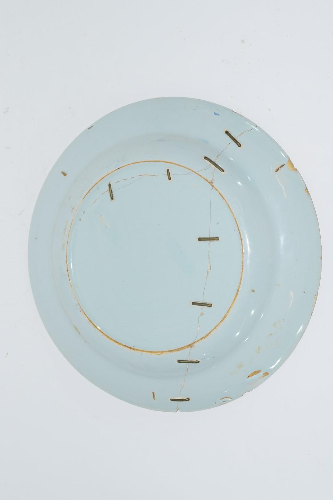 Three 18th century English Delft plates - Image 7 of 7