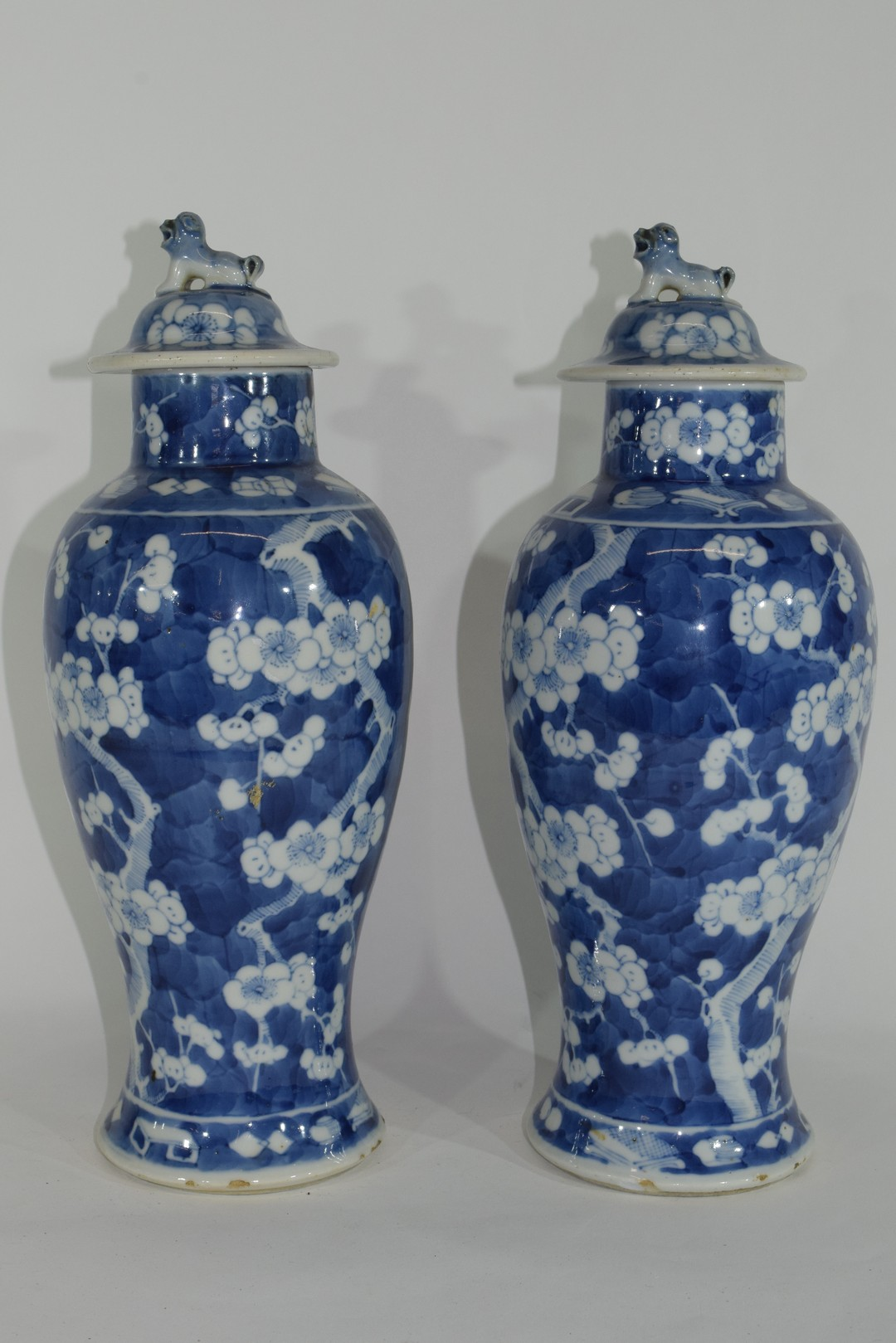 Pair of 19th century Chinese porcelain vases and covers