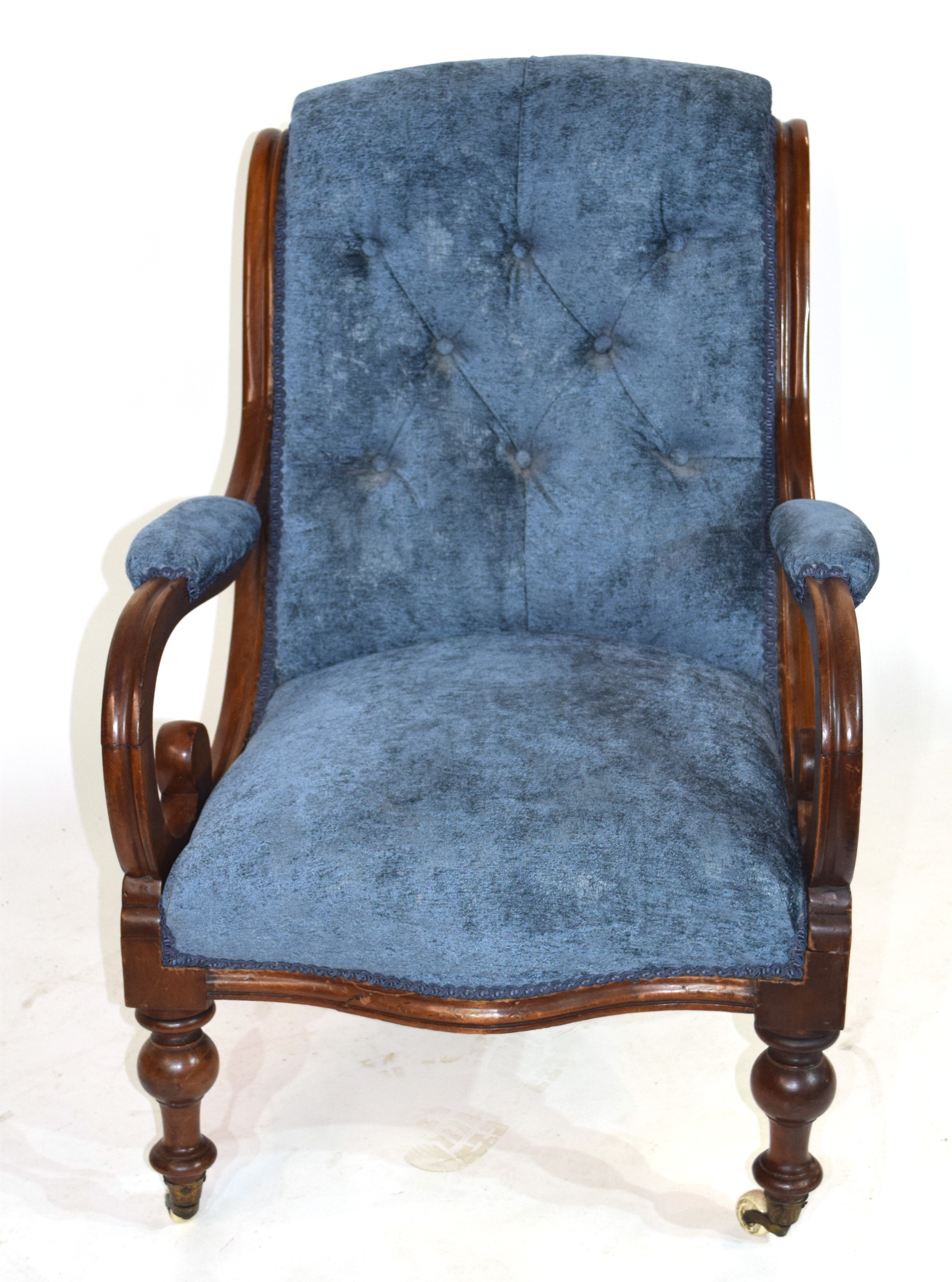 Victorian mahogany framed armchair with show wood frame, scrolled arms and turned front legs with - Image 2 of 3