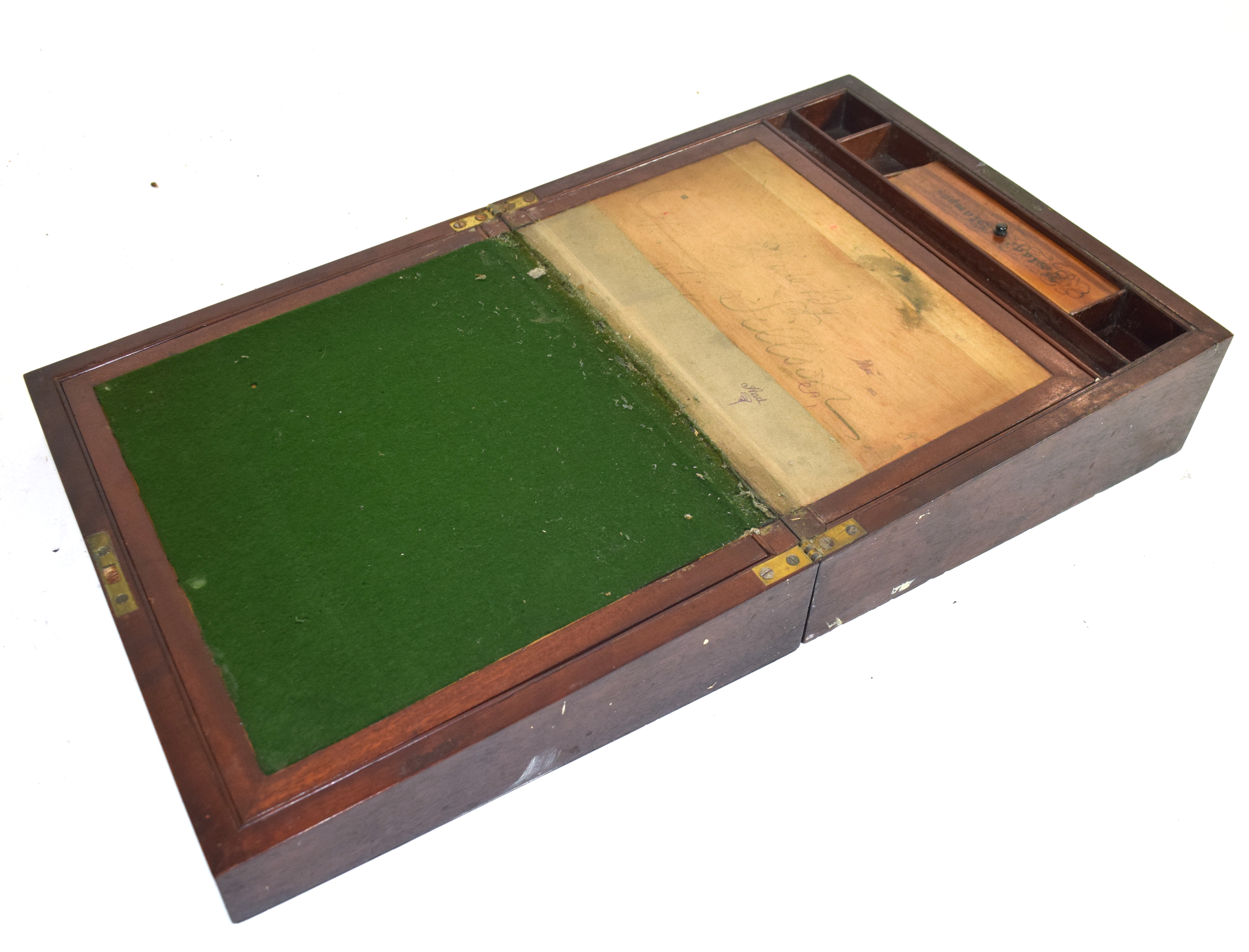 Large 19th century mahogany writing box with fitted interior, 38cm wide Condition: very worn