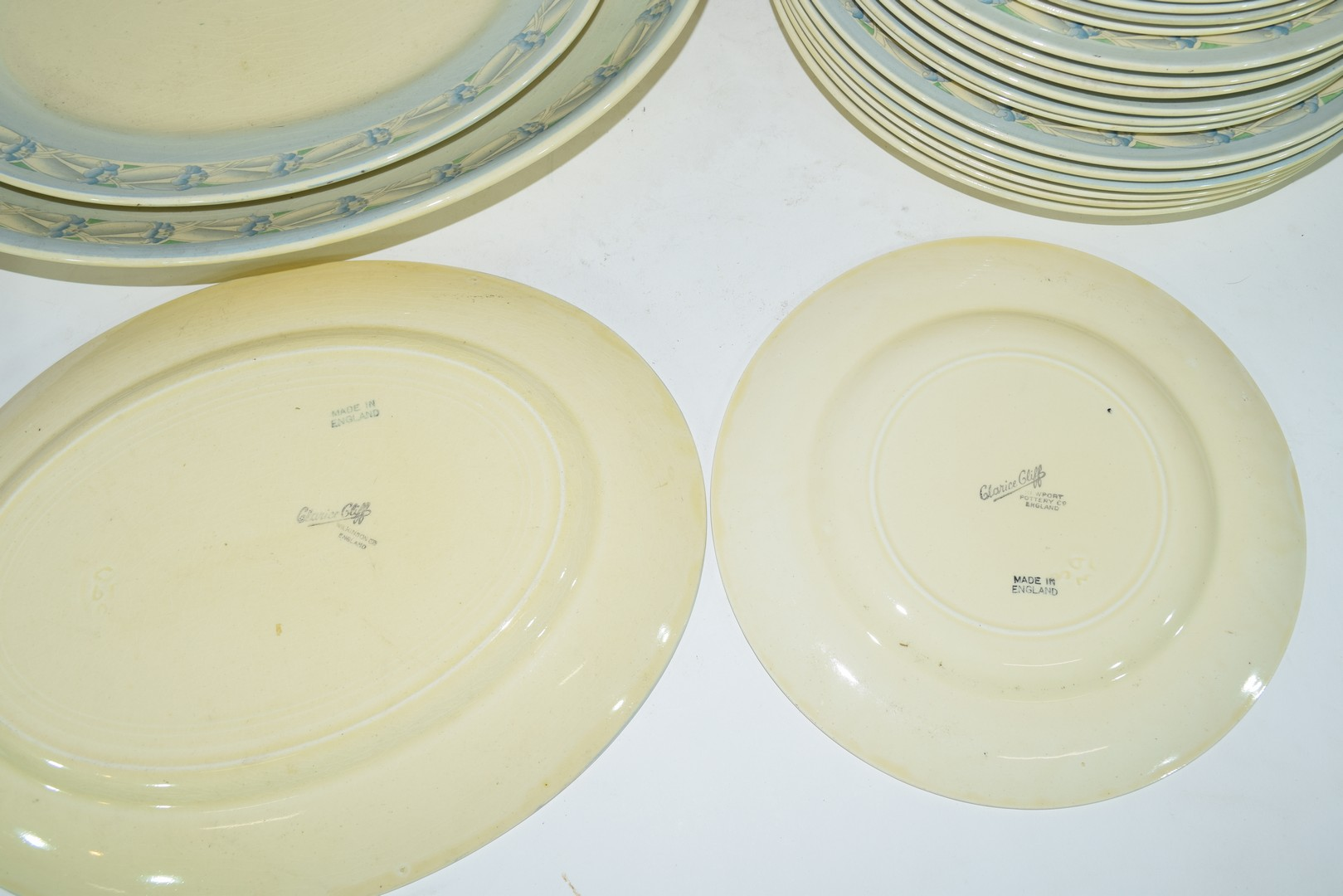 Clarice Cliff Newport pottery part dinner service comprising, two vegetable tureens, two oval meat - Image 3 of 4