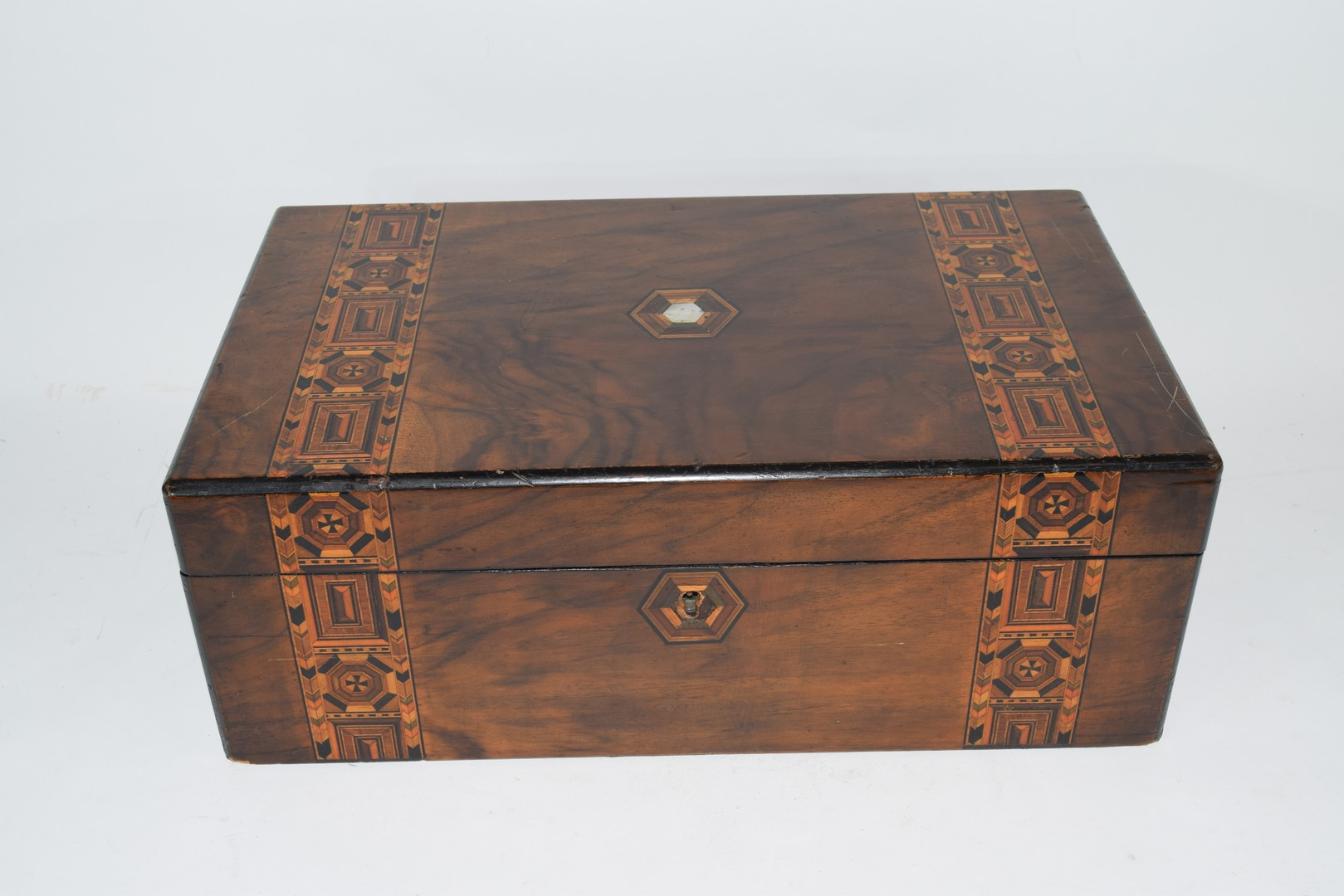 Late 19th century walnut and marquetry inlaid writing box