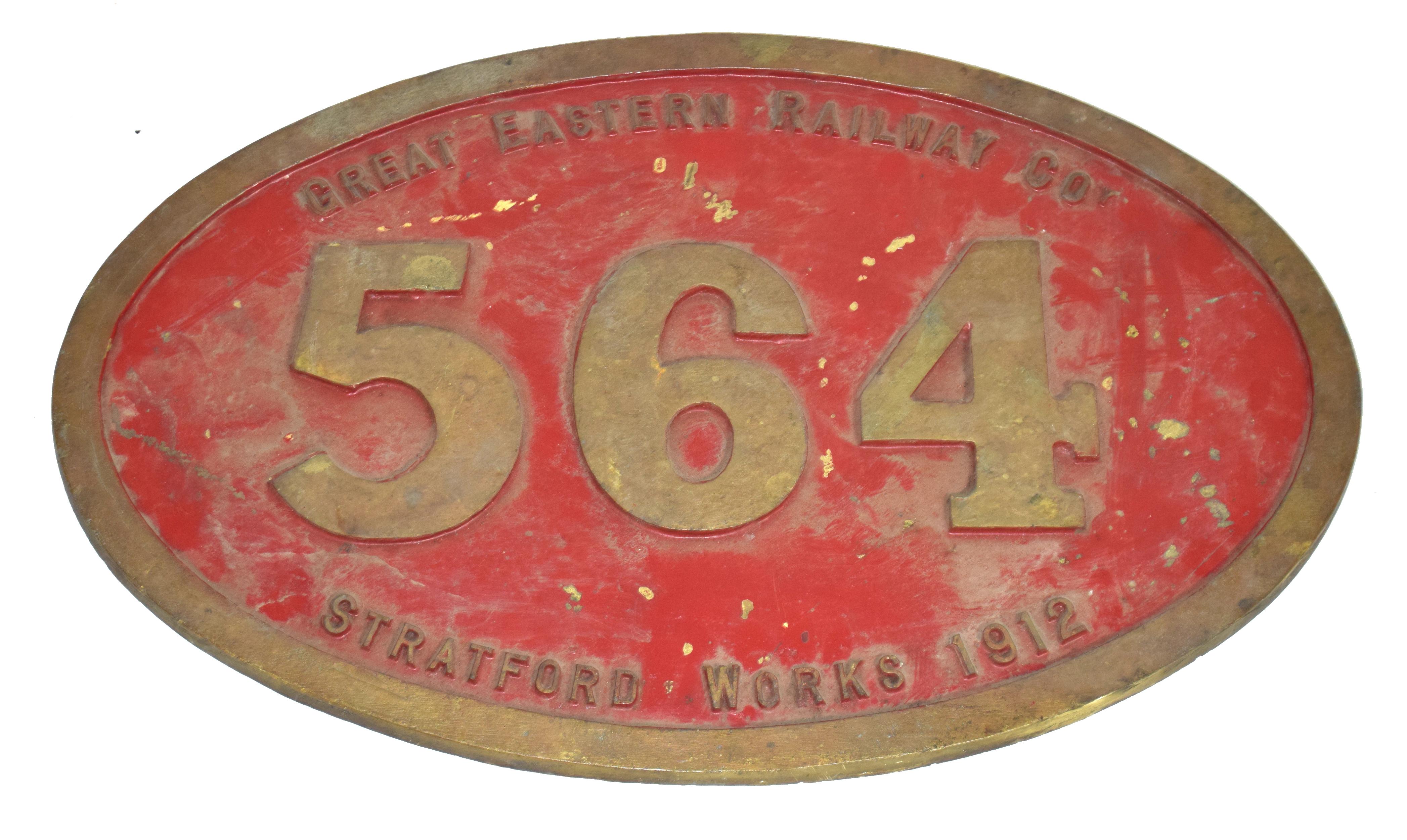 Railway interest engine plaque for Great Eastern Railway Co, Stratford Works 1912, No 564 bronze