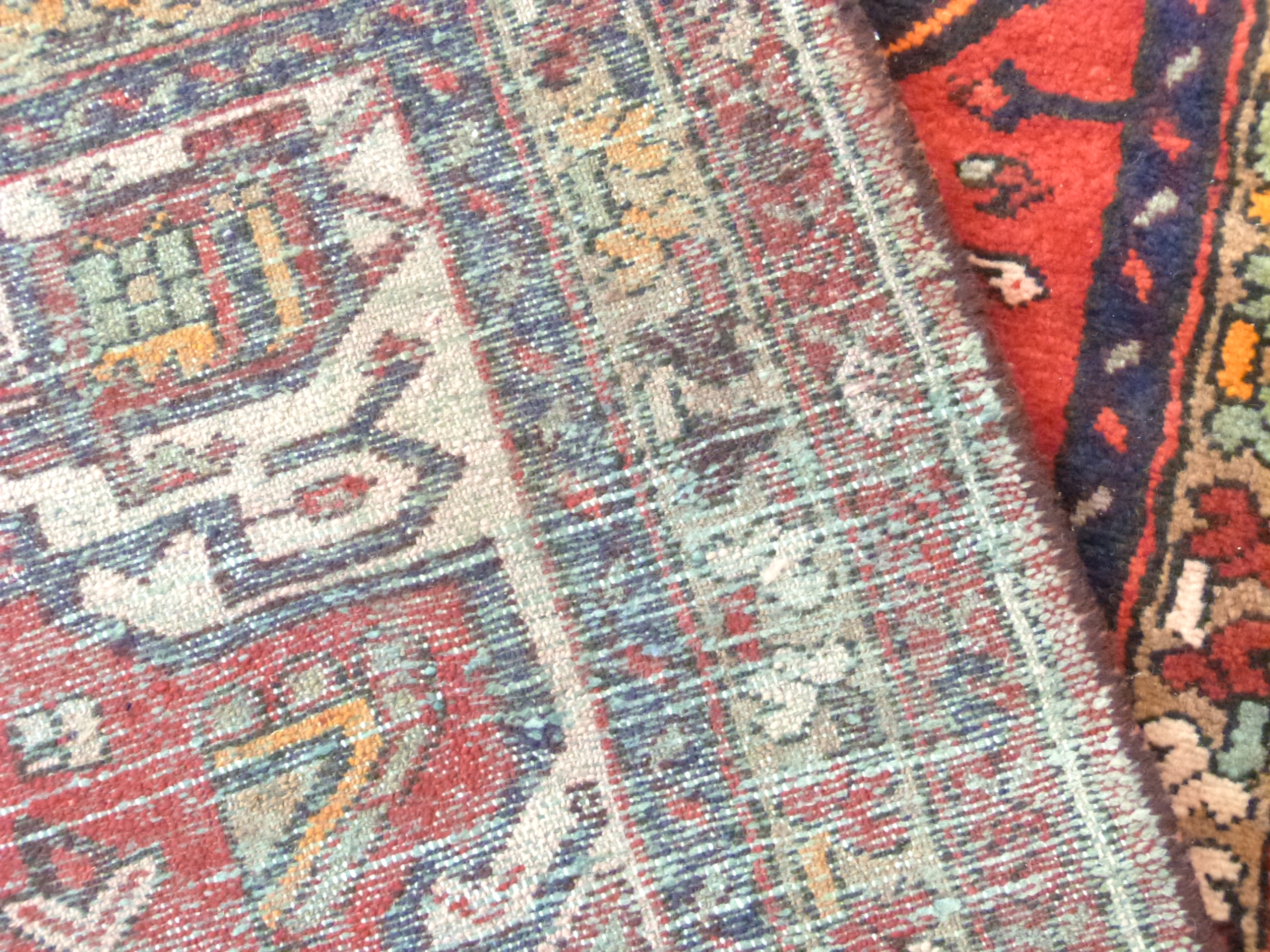 Rich red ground full pile Persian Hamadan Runner 286cm x 110cm approximately - Image 6 of 6