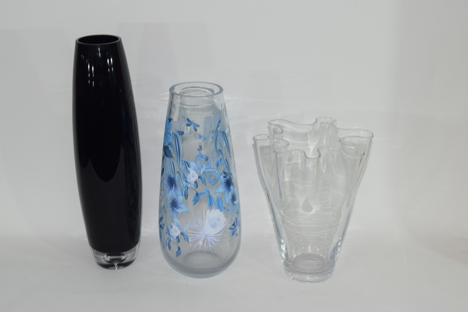 Three Swedish Art glass vases with various labels - Image 2 of 3