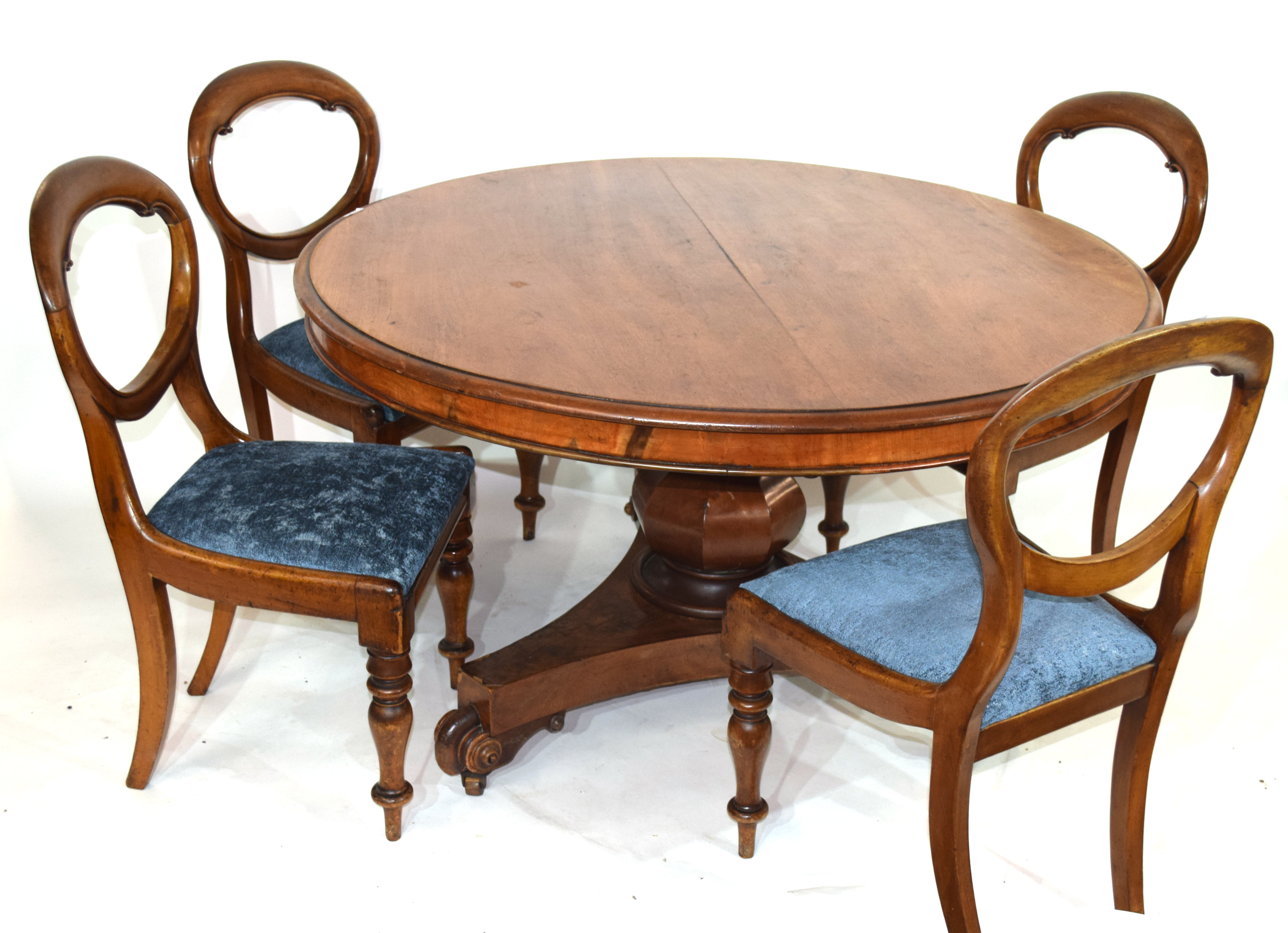 Victorian mahogany pedestal dining table, the circular top over a bulbous pedestal raised on a - Image 2 of 6