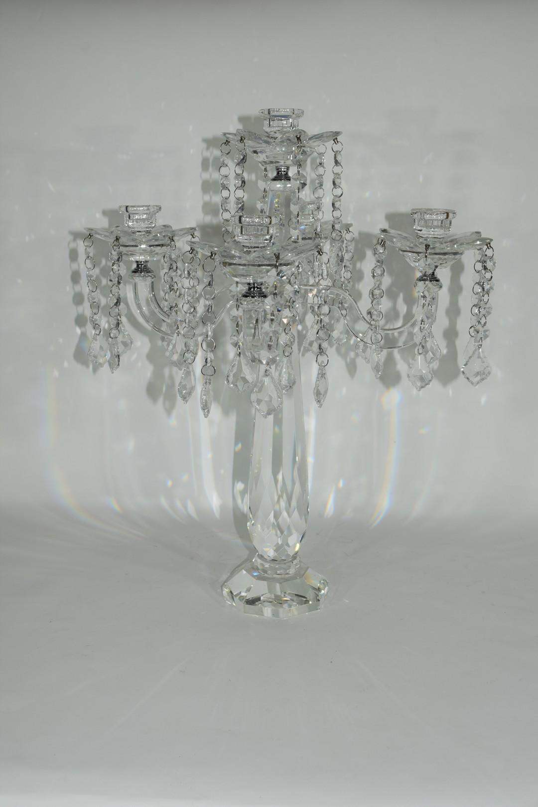Cut glass candelabra