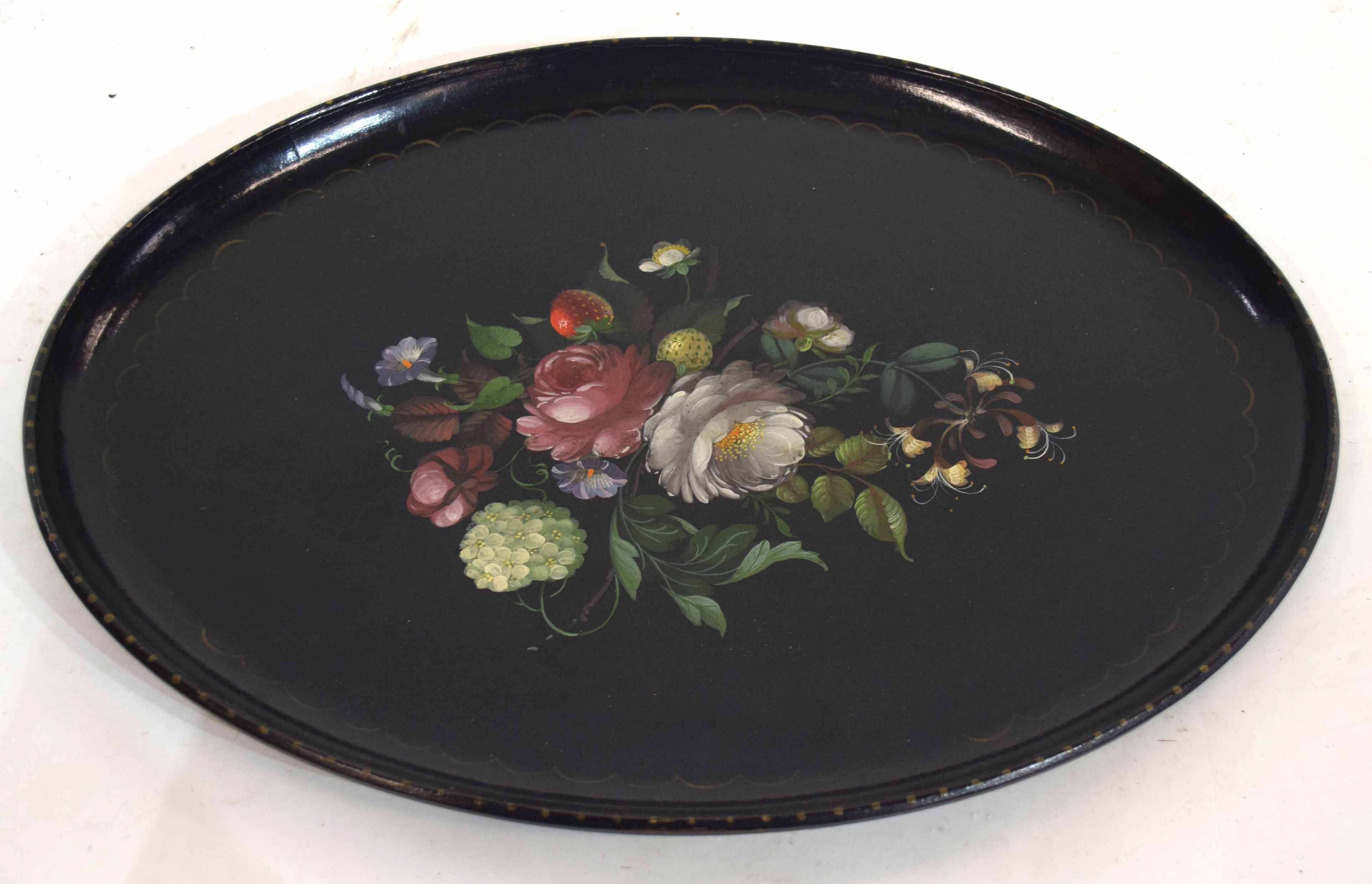 Papier mache type tray, the centre decorated with flowers and fruit within a loop border, 52cm - Image 2 of 2