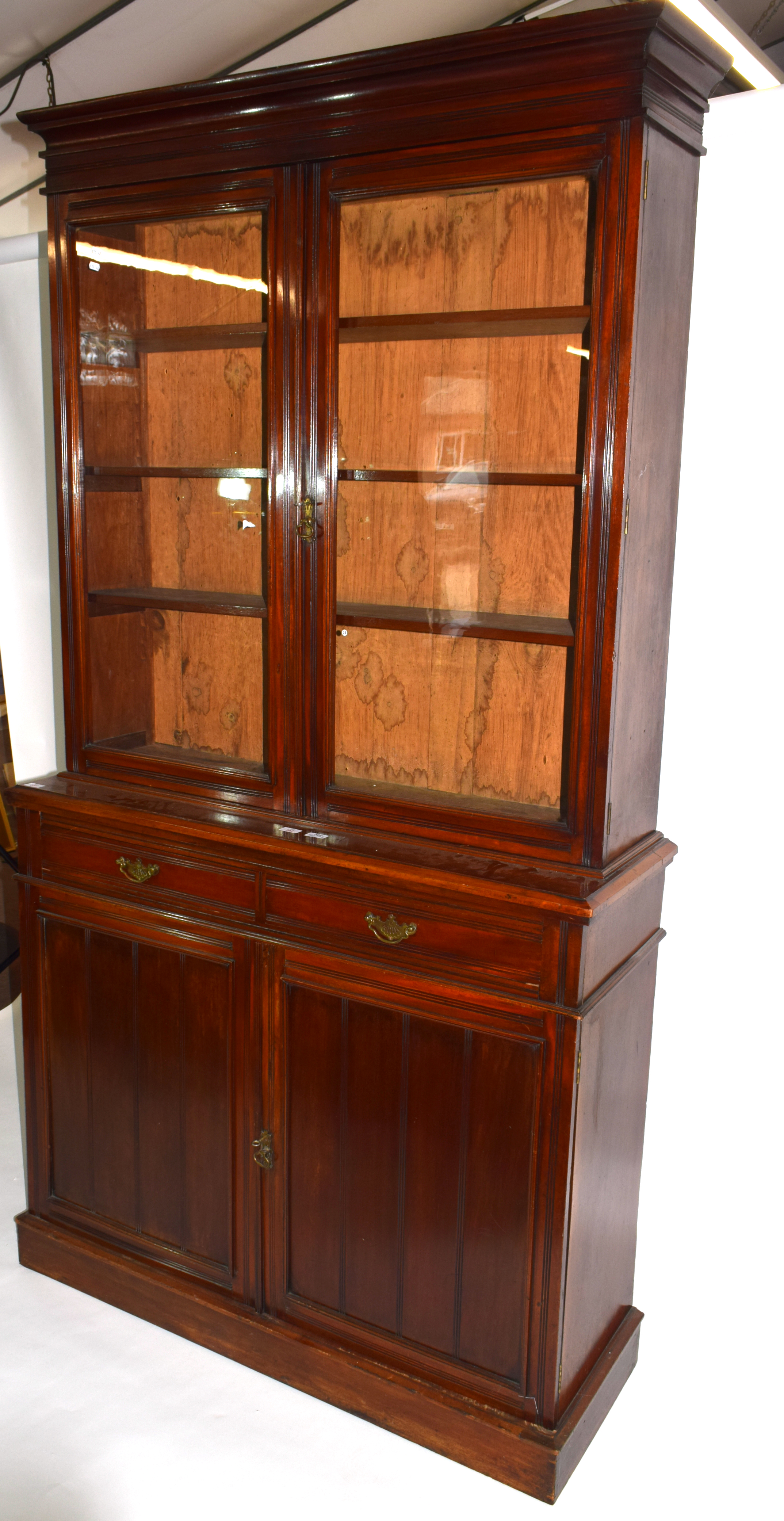Full height mahogany side cabinet with glazed bookcase raised over double cupboard, width approx - Image 6 of 6