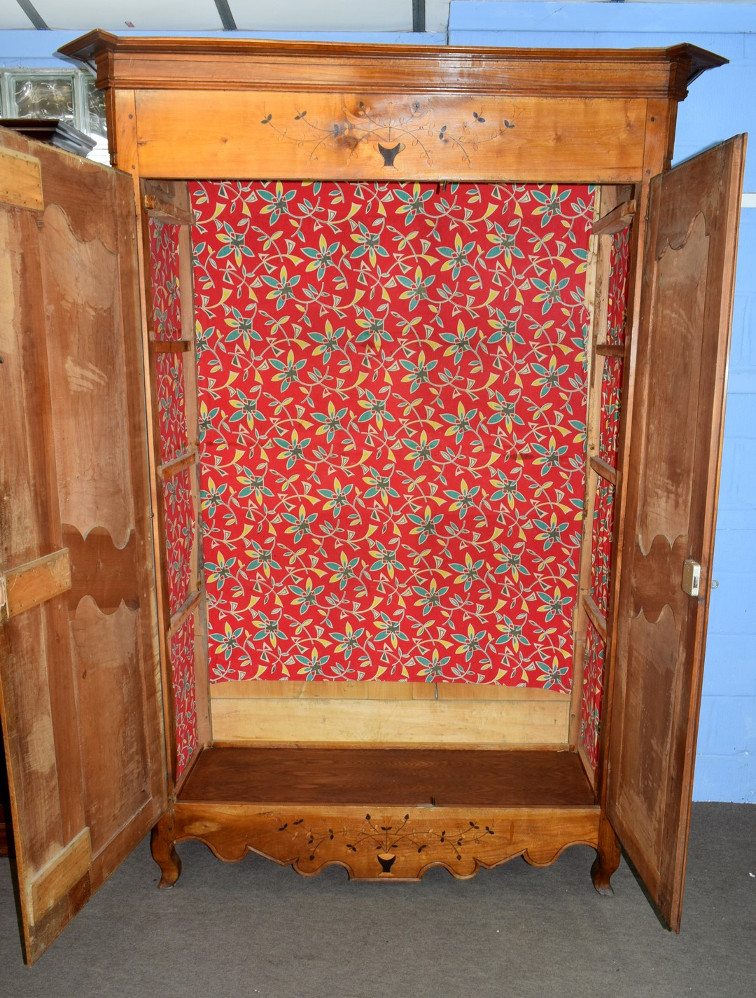 Large inlaid armoire, width approx 140cm Condition: Appears structurally sound^ minor splitting to - Image 3 of 5