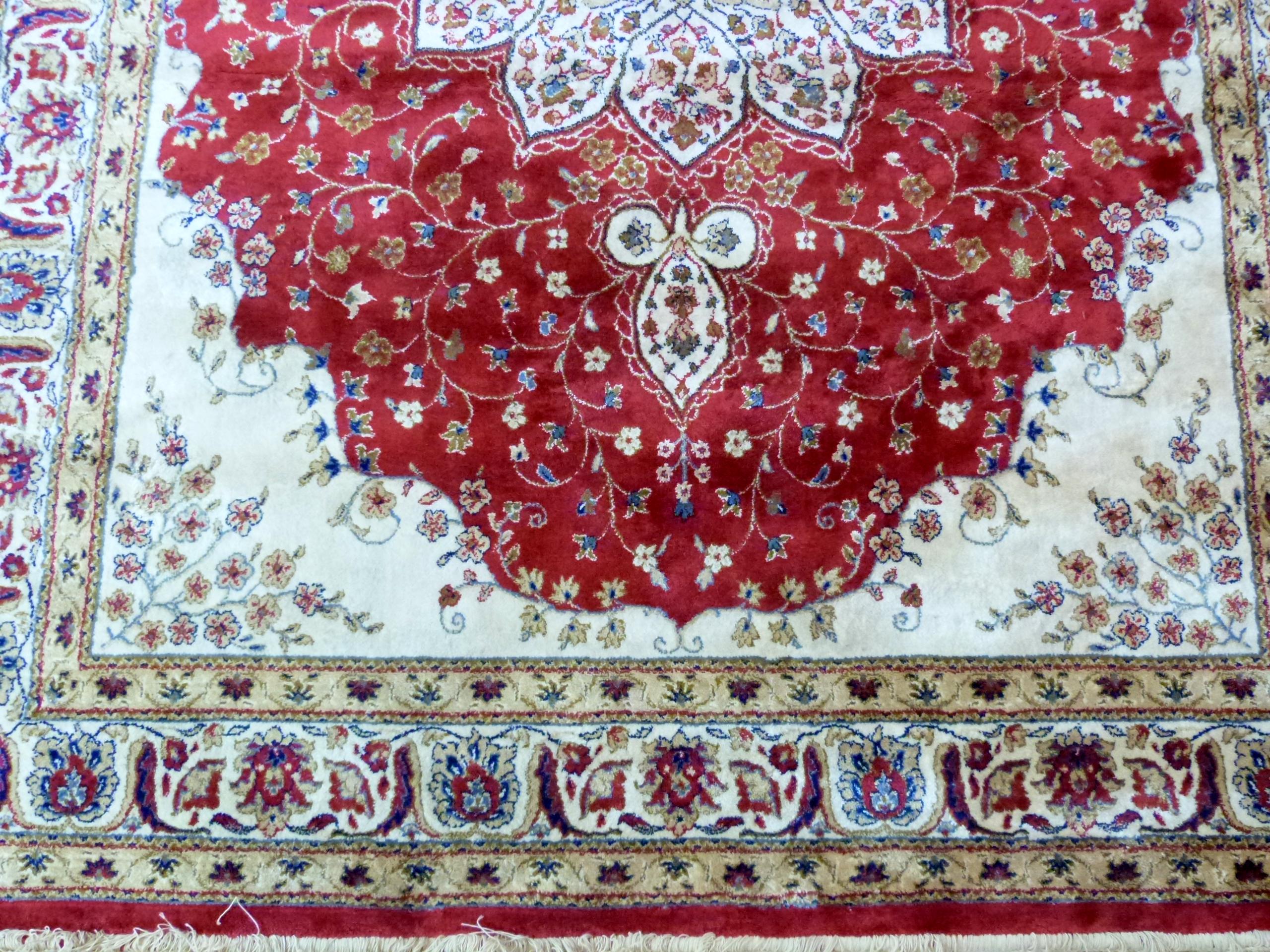 Red ground Kashmir floral medallion design Rug, 240 x 156cm approx - Image 2 of 6