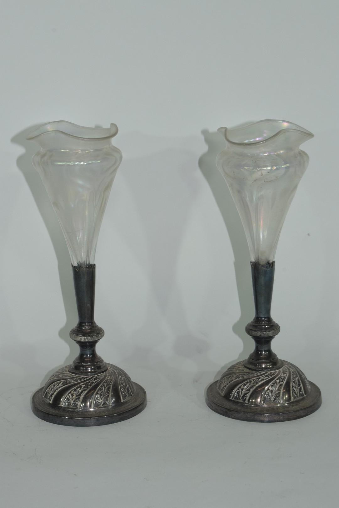 Pair of Art Nouveau bud vases - Image 4 of 5