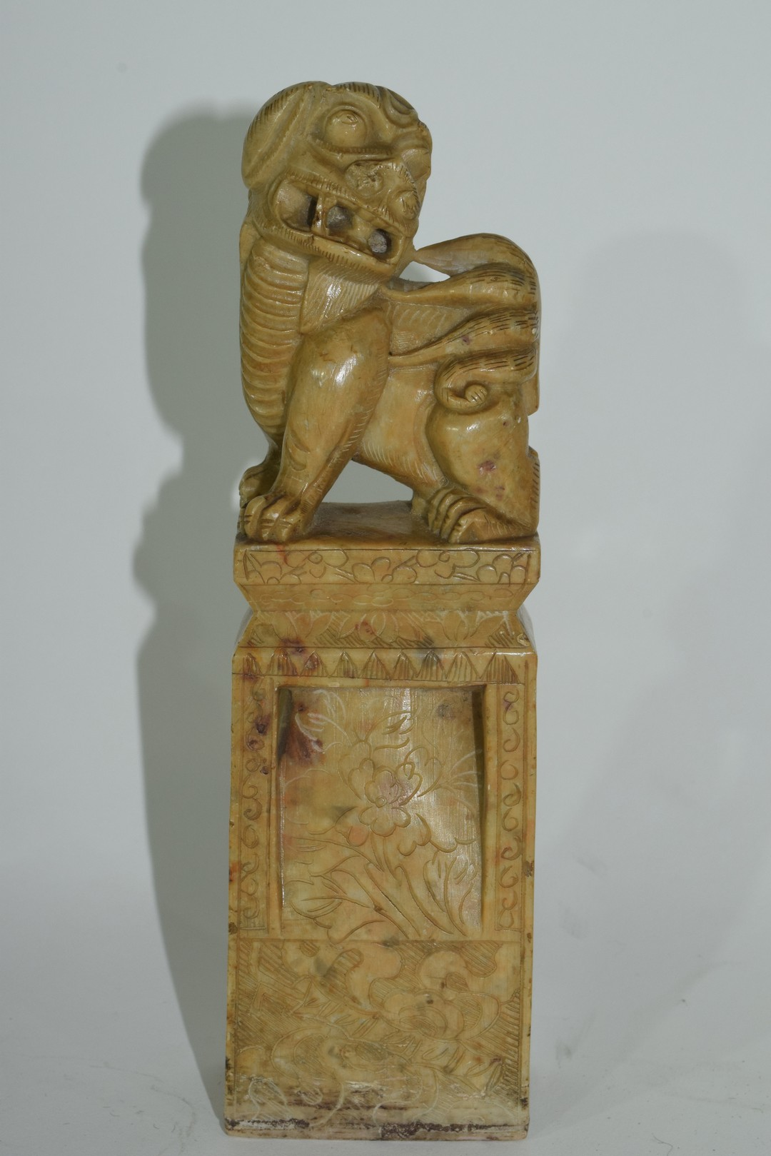 Oriental soapstone figure with a dog of Fo - Image 6 of 6