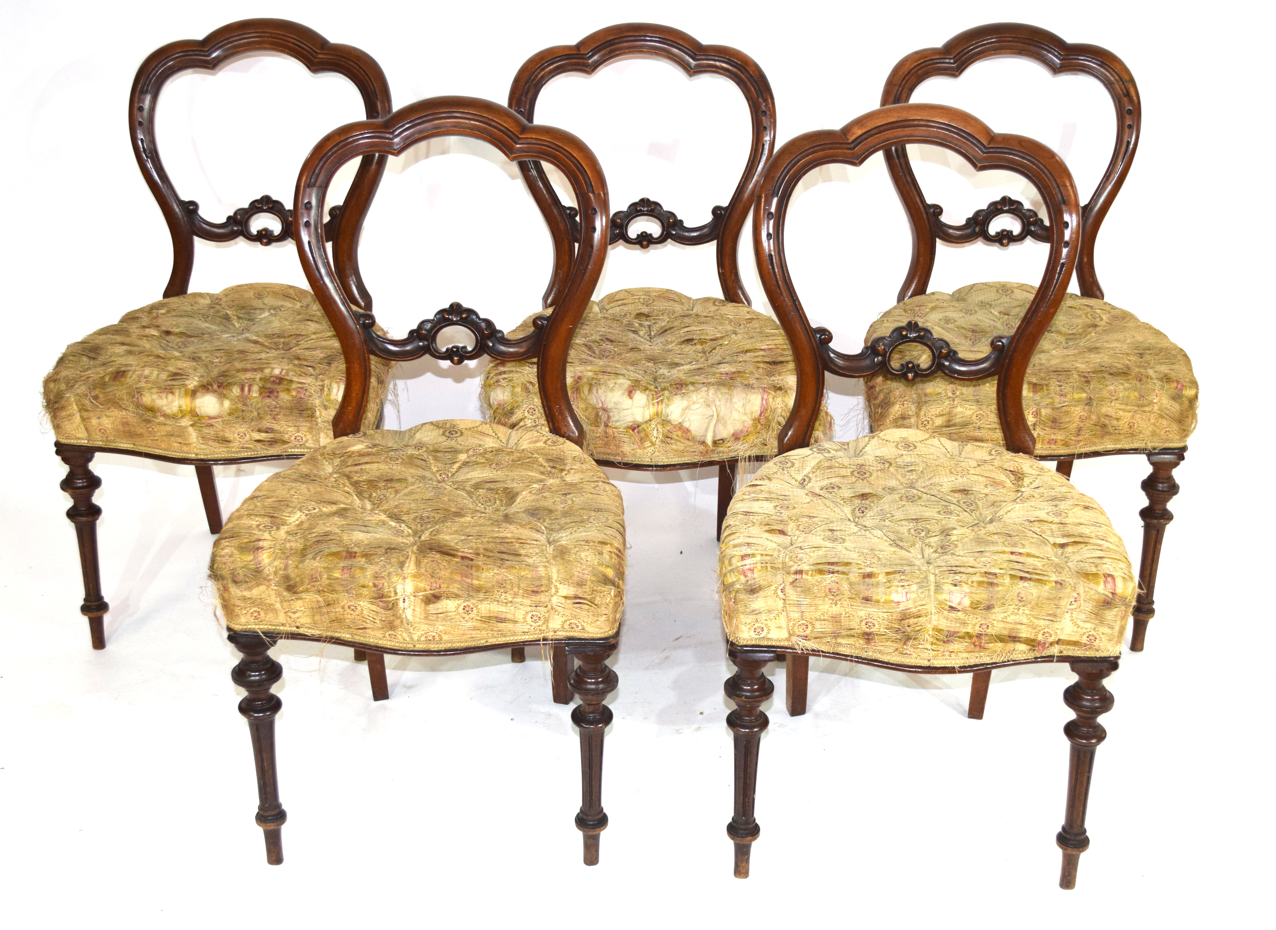 Set of six Victorian mahogany balloon back dining chairs raised on turned legs fitted with button - Image 2 of 2