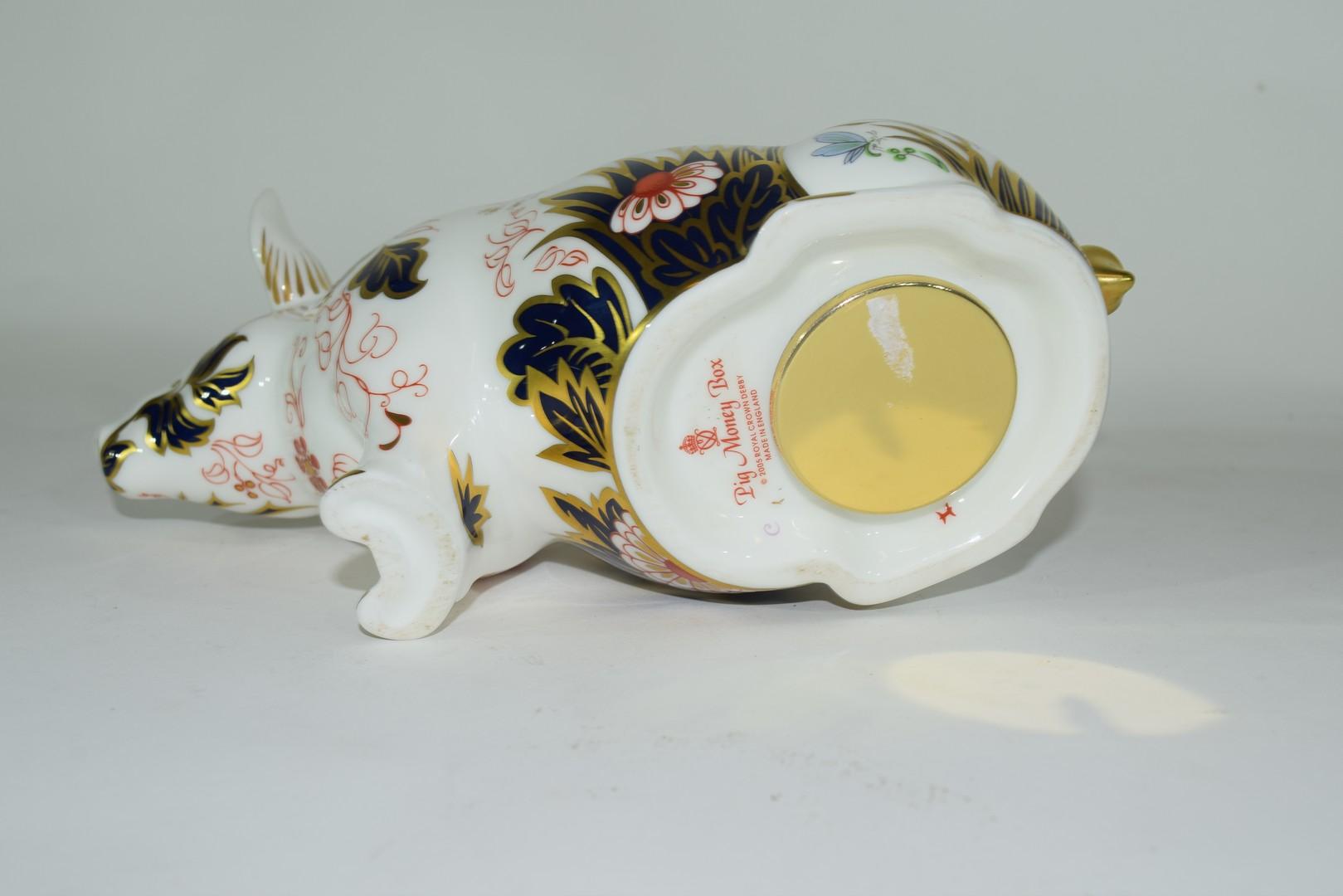 Large Royal Crown Derby pig money box - Image 5 of 5