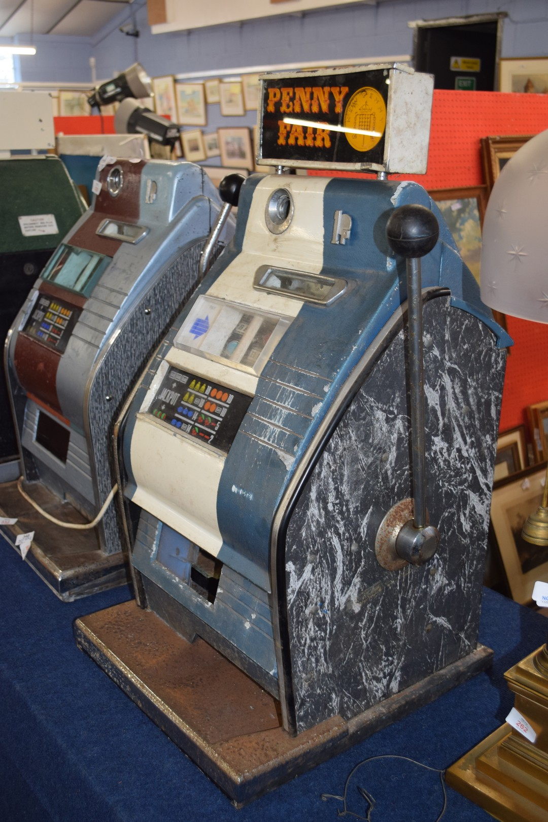 Vintage penny fair one armed bandit fruit machine, 79cm high Condition: - Image 5 of 7